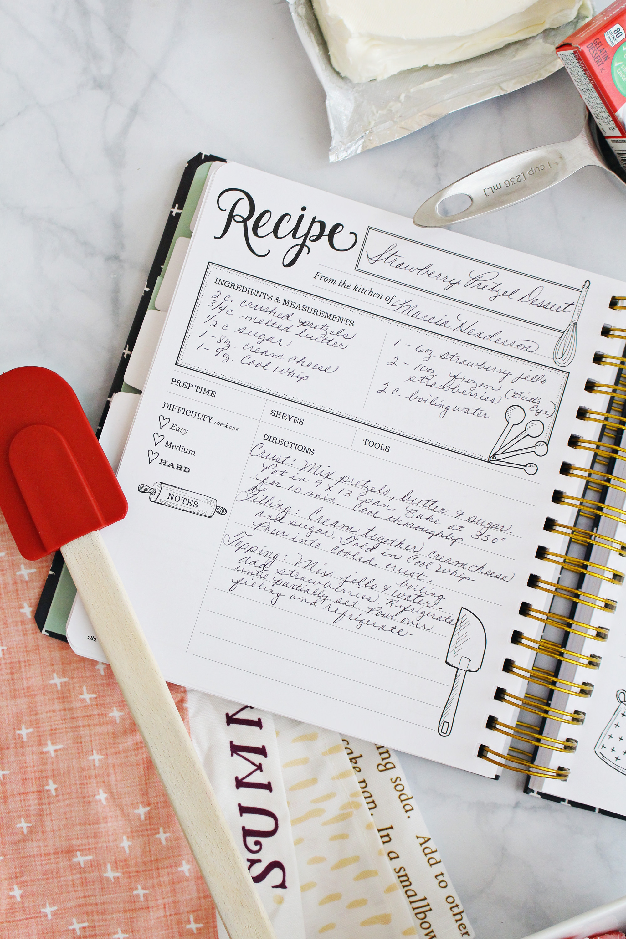 Have family members fill in the pages of your Keepsake Kitchen Diary with their own handwriting. It will be a special, family heirloom.