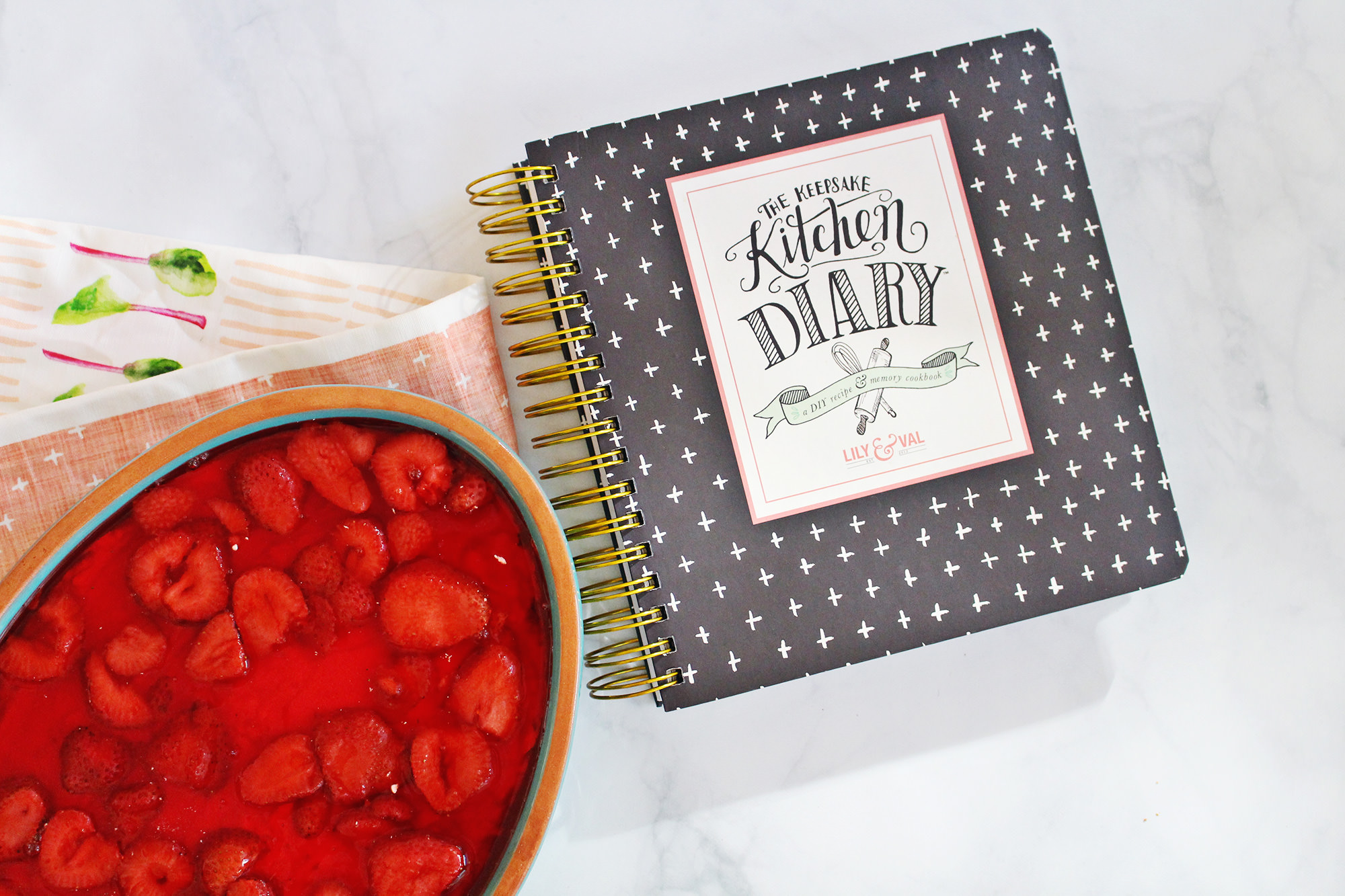 The Keepsake Kitchen Diary is perfect for recording special family recipes like this Strawberry Pretzel Dessert