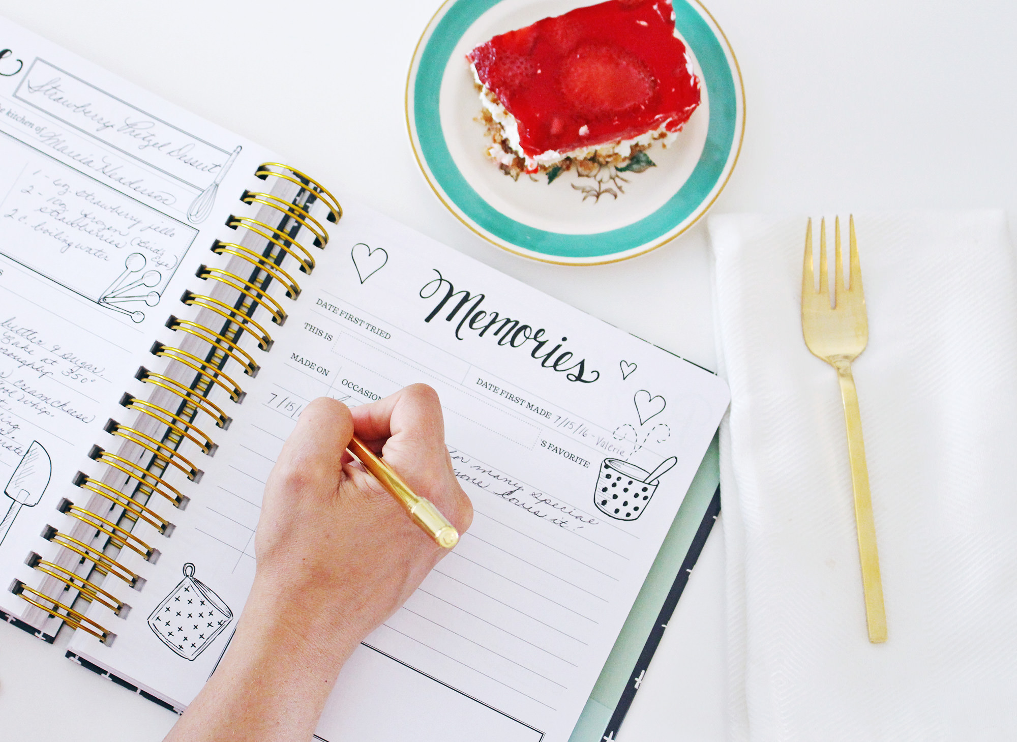 You can record memories on the journaling side of the Keepsake Kitchen Diary.