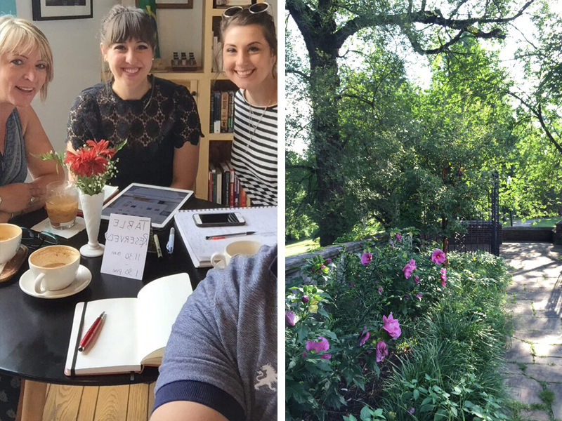 A few snapshots of Valerie's week: meetings, coffee and morning walks!