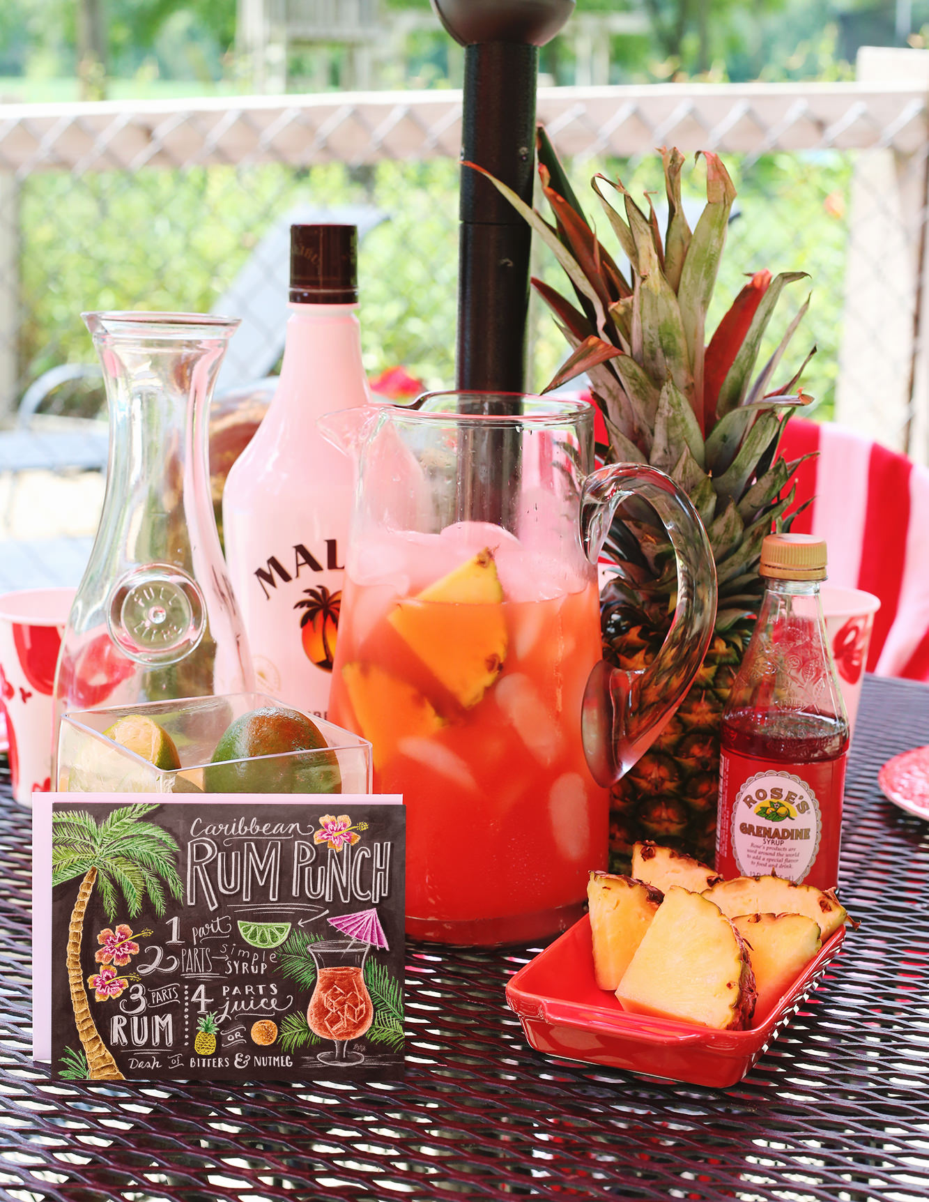 Summer Cocktail Pitcher Recipe - Tropical Rum Punch via Lily & Val Living
