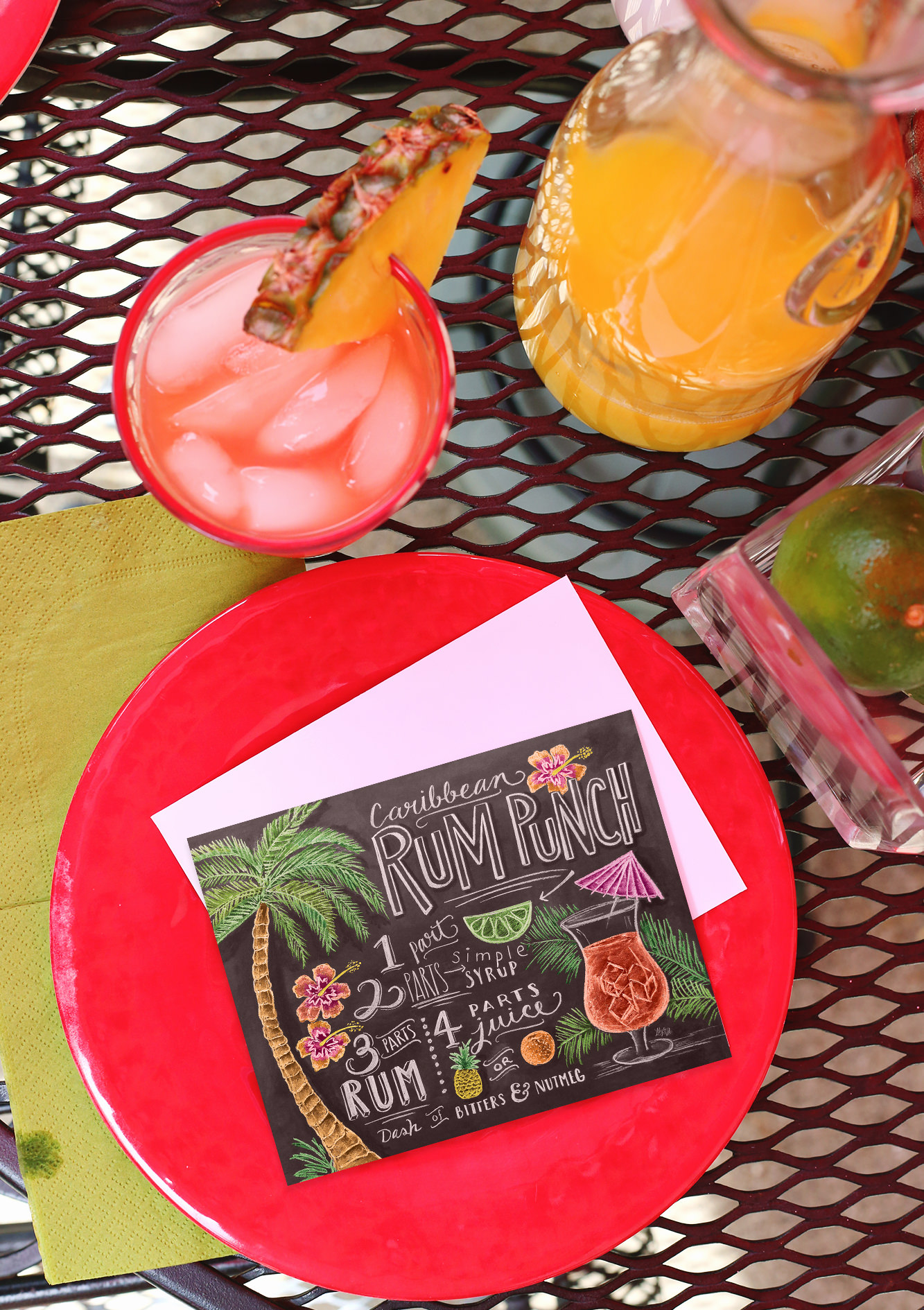 Summer Cocktail Recipe note card via Lily & Val Living
