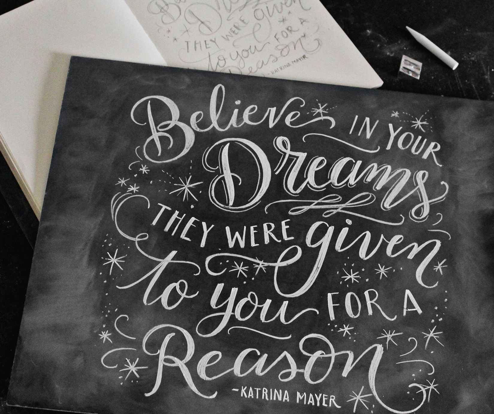 Finished chalk art design - Believe in your dreams, they were given to you for a reason!