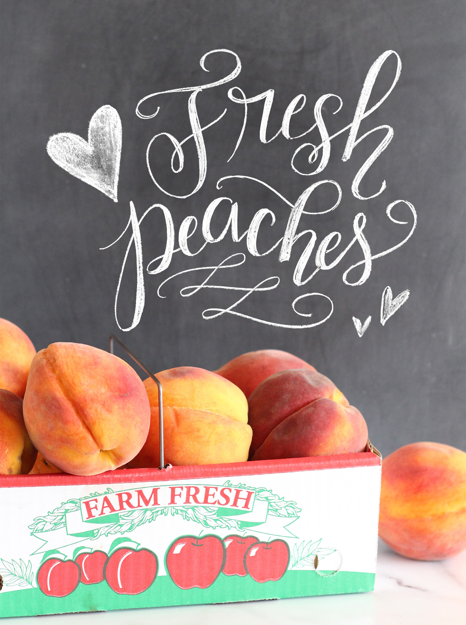 How to use those fresh peaches: make a peach cobbler! Recipe on Lily & Val Living along with an illustrated recipe print.