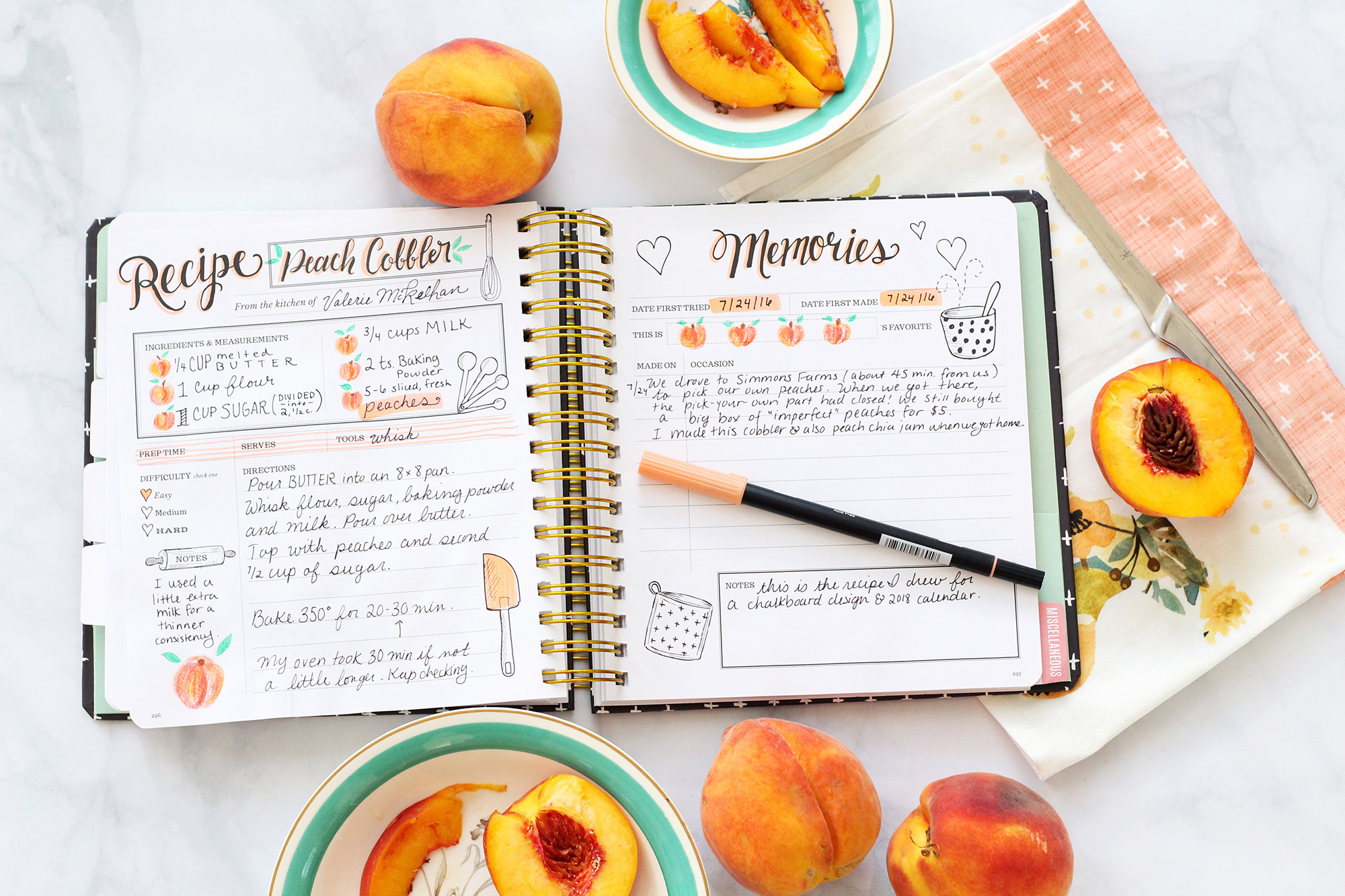Get crafty with your Keepsake Kitchen Diary by adding personal touches to the recipe! Brush pens and colored pencils are great ways to make your recipe and memory spreads more personal.