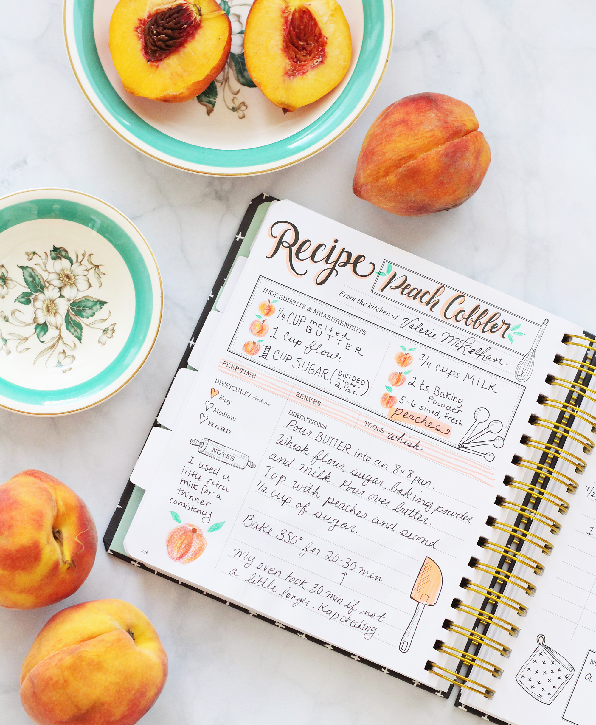 Peach Cobbler recipe recorded in the Lily & Val Keepsake Kitchen Diary. This one-of-a-kind cookbook is a unique way to record special recipes and the memories that go along with them