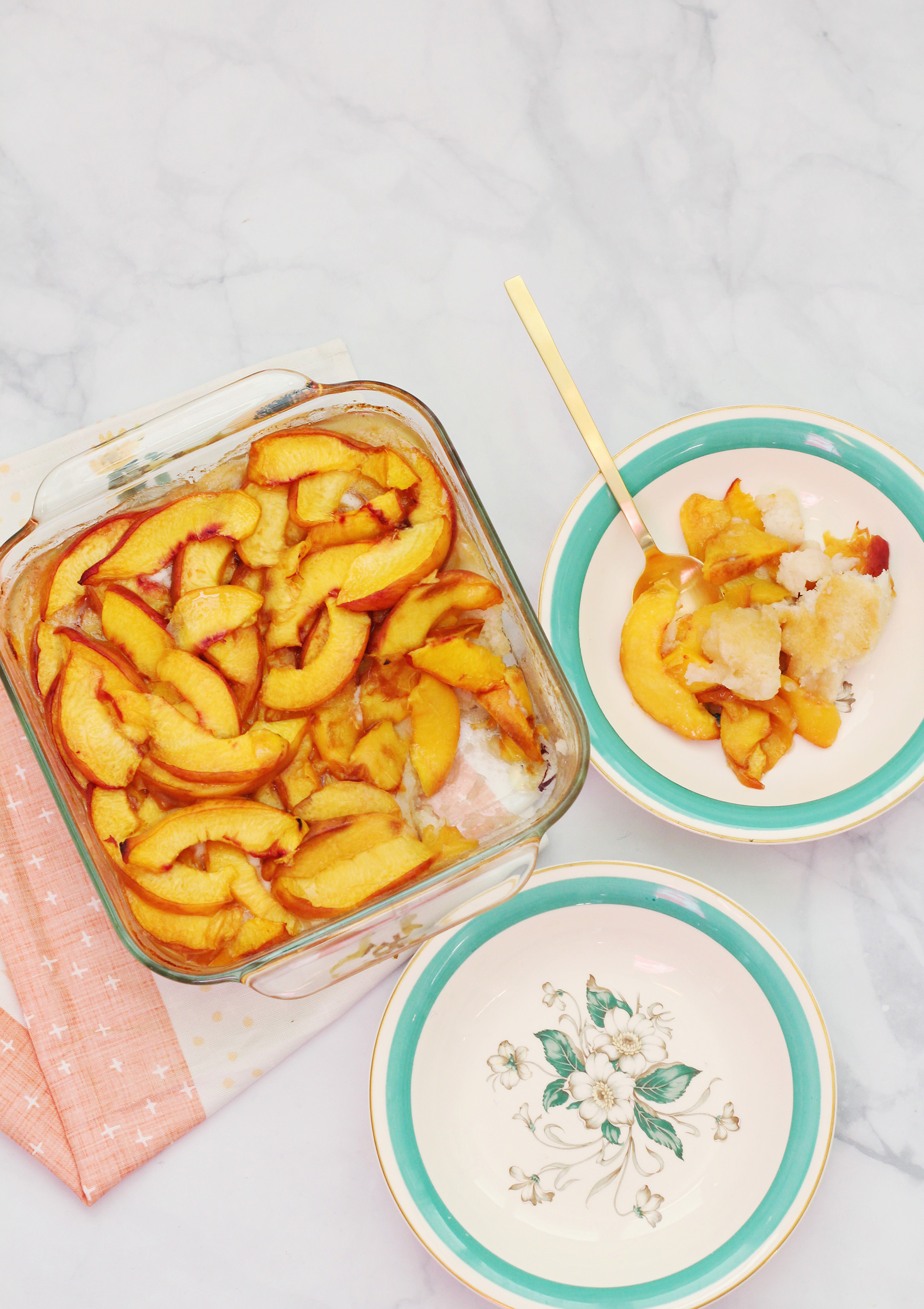 Serve up a fresh peach cobbler recipe. We brought our Lily & Val Peach Cobbler print to life on Lily & Val Living!