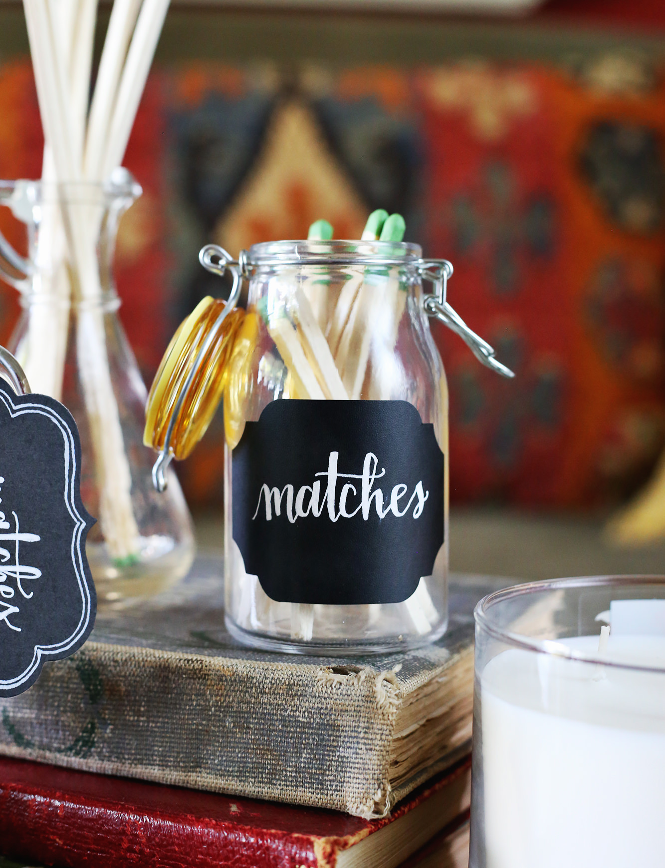 Create DIY match jars for your home with a few simple steps! Via Lily & Val Living!