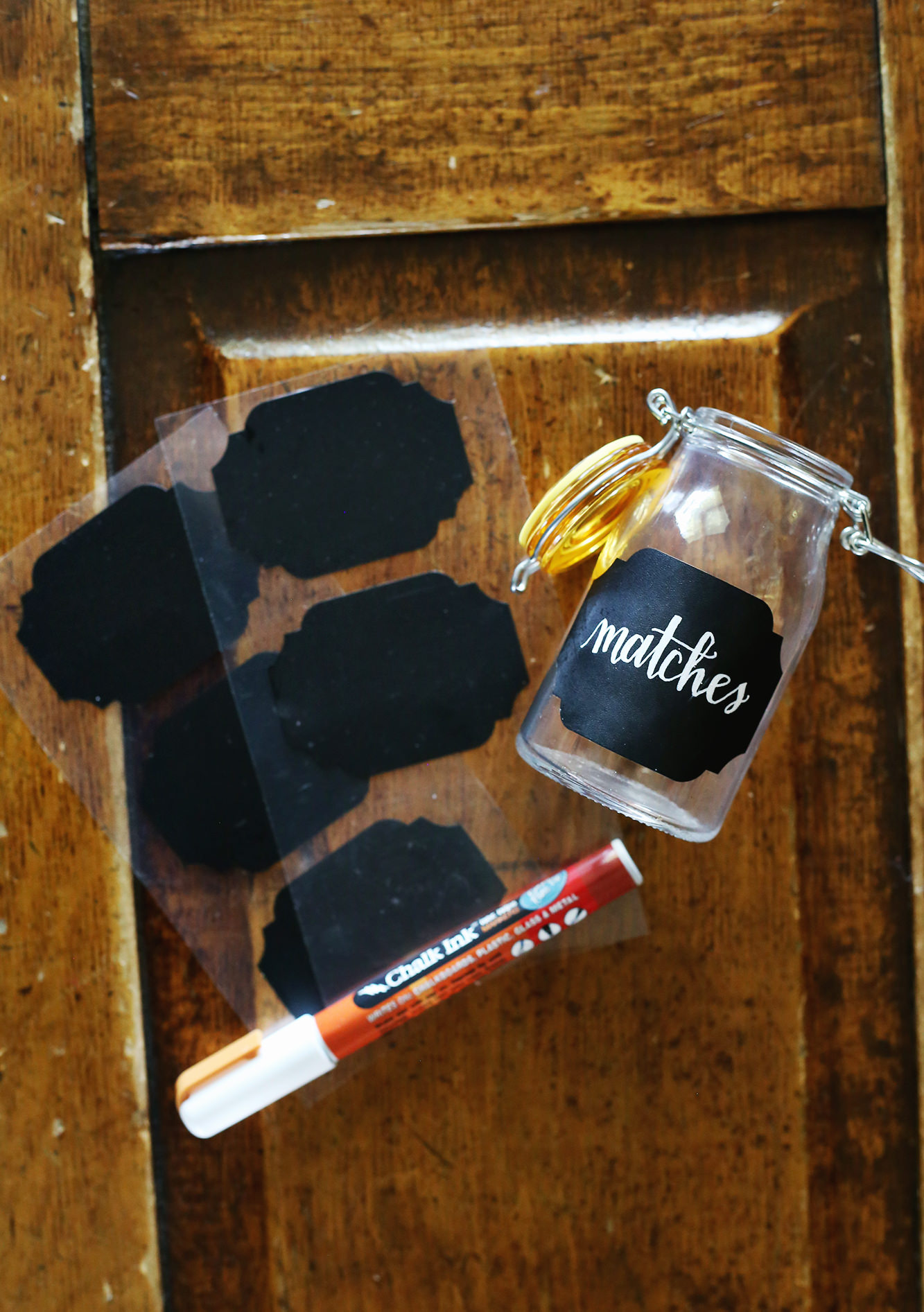 Chalkboard stickers make the perfect label for your DIY matchstick jar!
