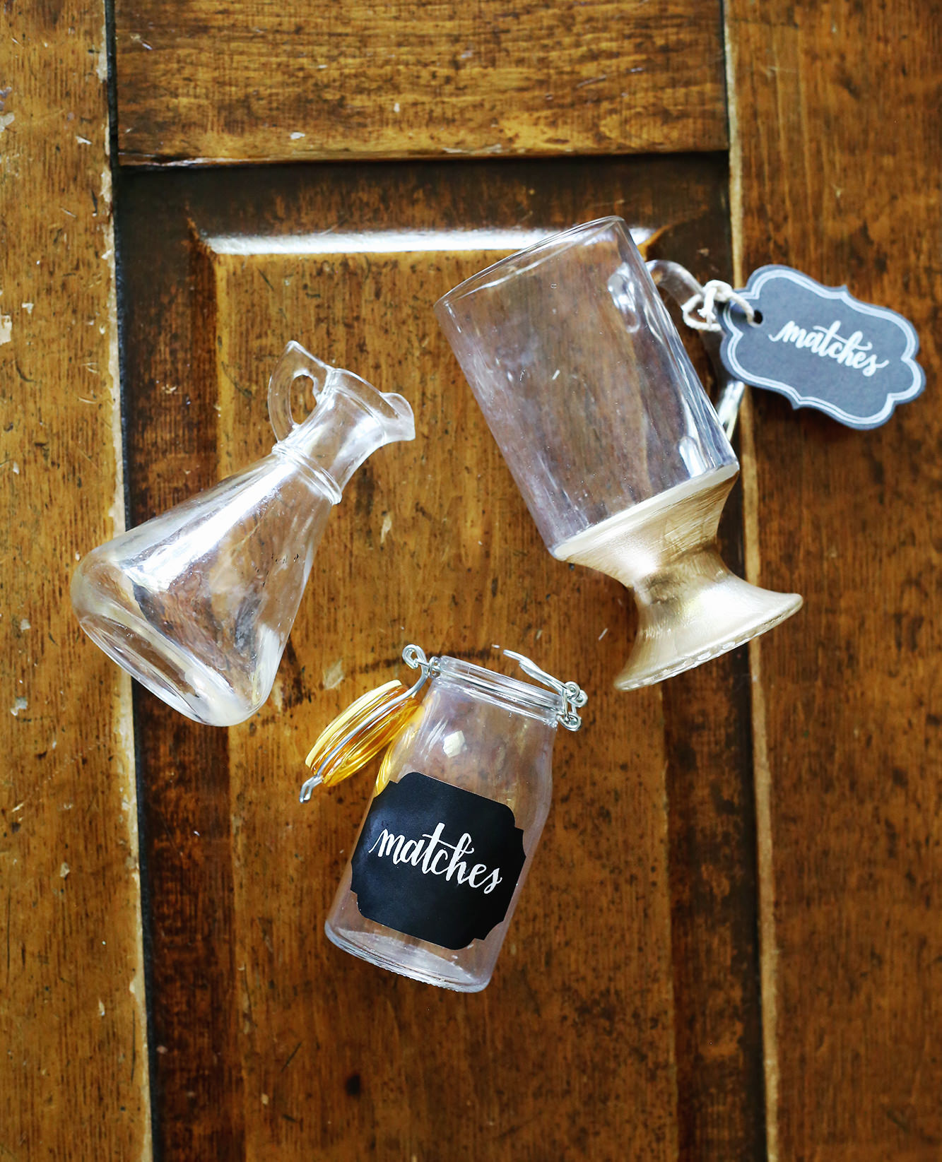 Recycle old glass jars and cups to create beautiful match containers! Via Lily & Val Living