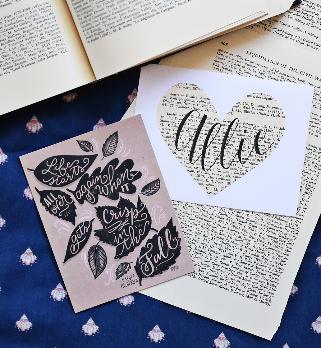 Literature-inspired happy mail includes an F.Scott Fitzgerald note card and more! via Lily & Val Living