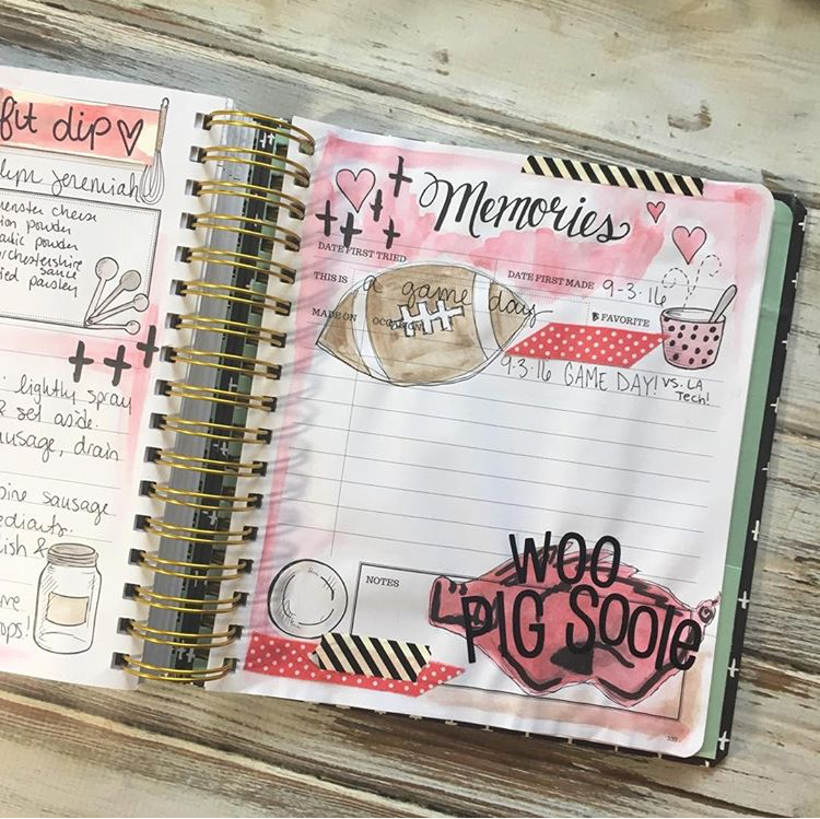 This dip recipe is perfect for game day! Journaling artist, Katelyn, recorded the memories that coincide with the recipe in her Keepsake Kitchen Diary.