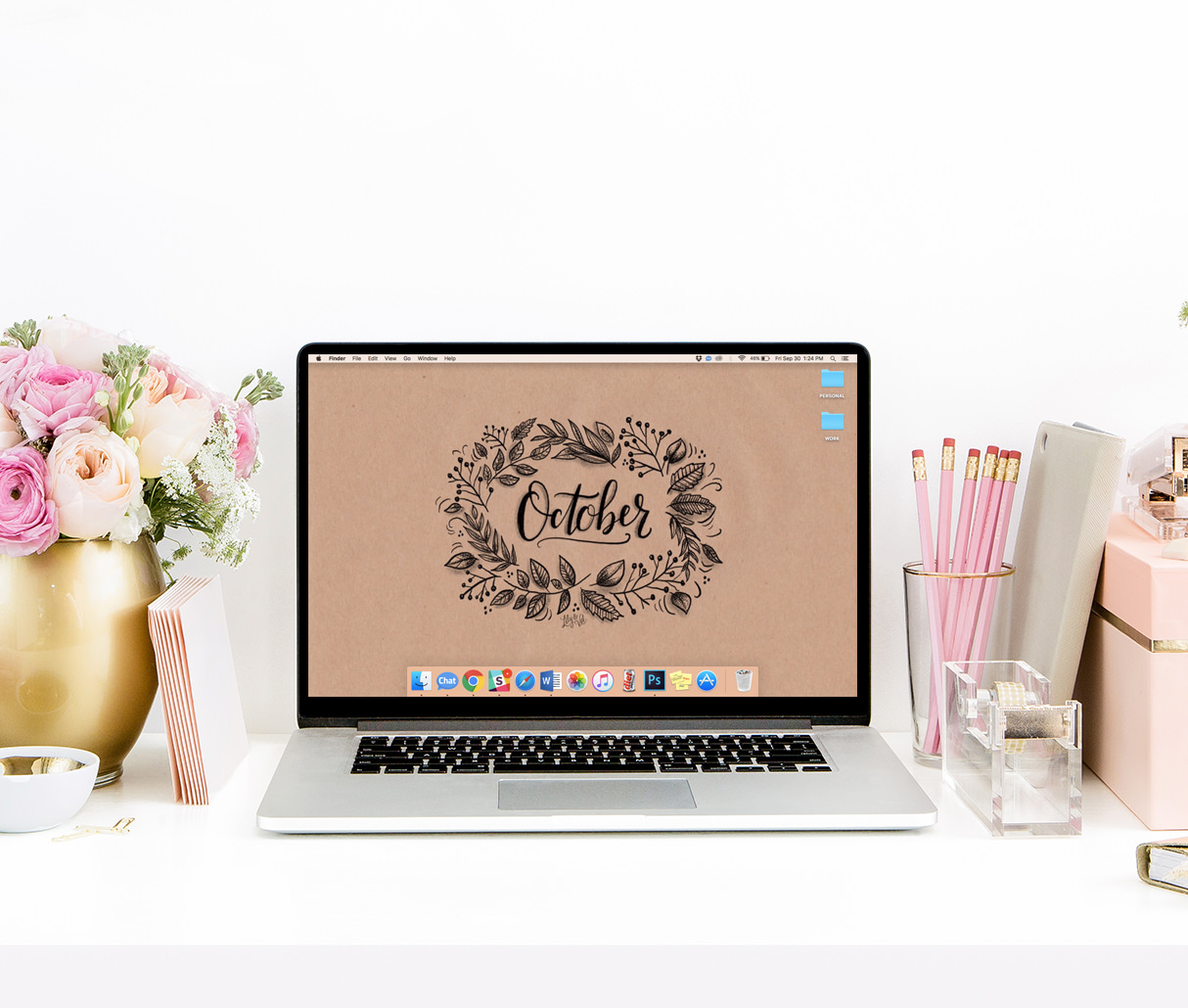 A beautiful kraft paper background for your computer and iPhone this October! via Lily & Val Living!
