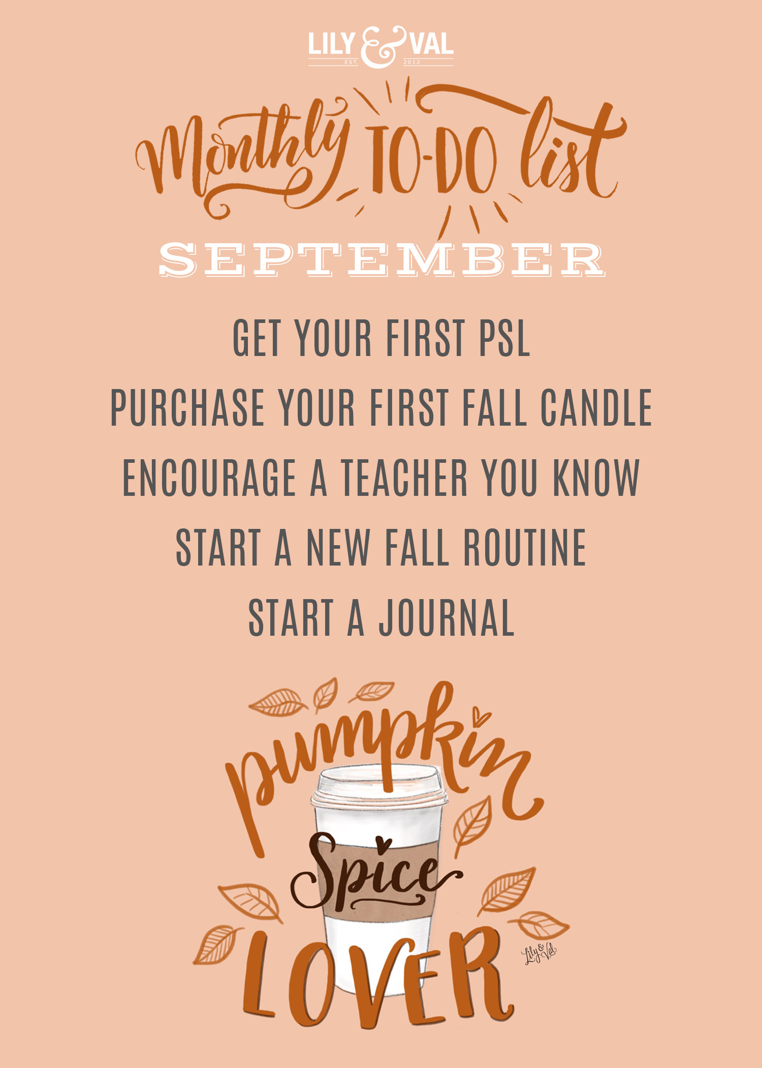 Download Lily & Val's free September to-do list to celebrate the start of Fall!