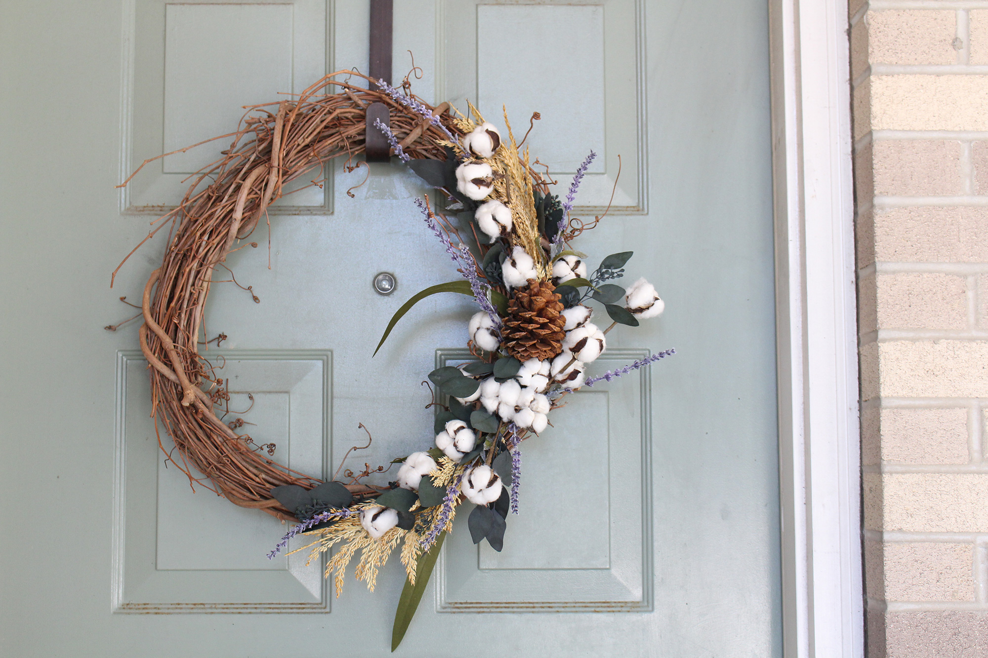 Fall Raw Cotton Wreath tutorial on Lily & Val Living