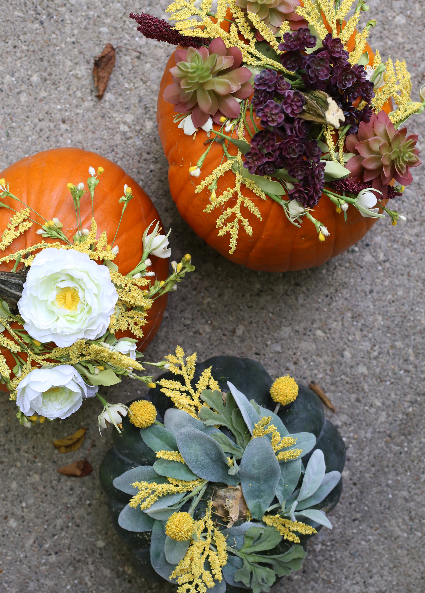 Outdoor Fall Decorations, Floral Pumpkin DIY via Lily & Val Living!