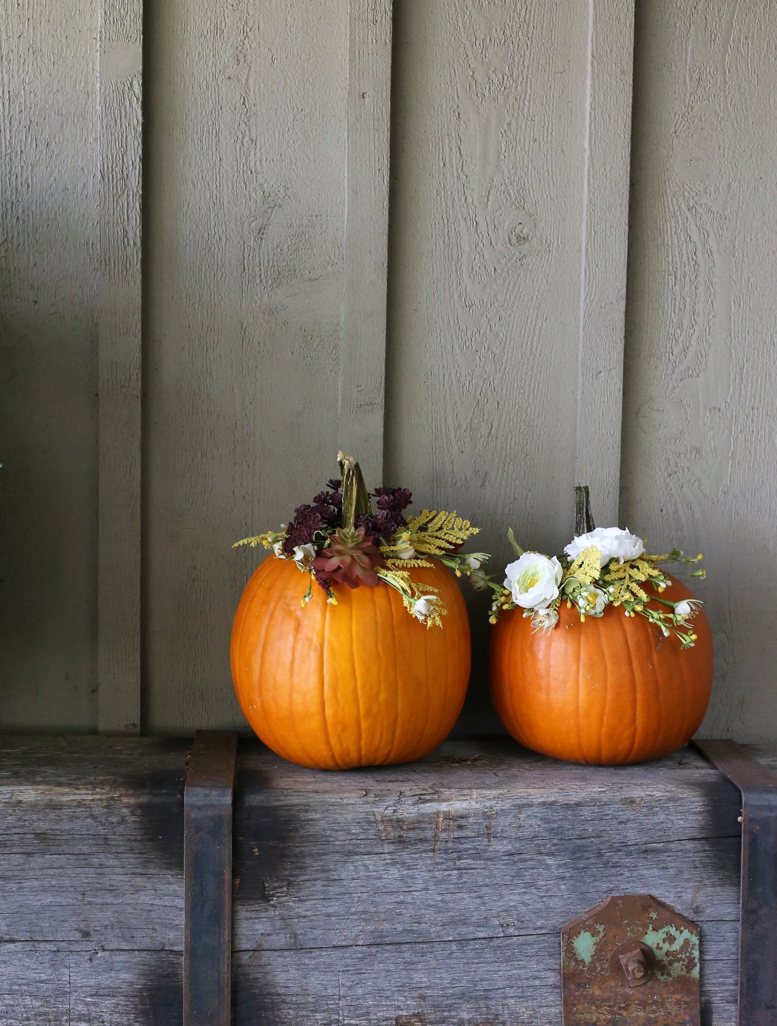 Decorate your pumpkins in a new way this year! DIY Floral Pumpkins via Lily & Val Living!