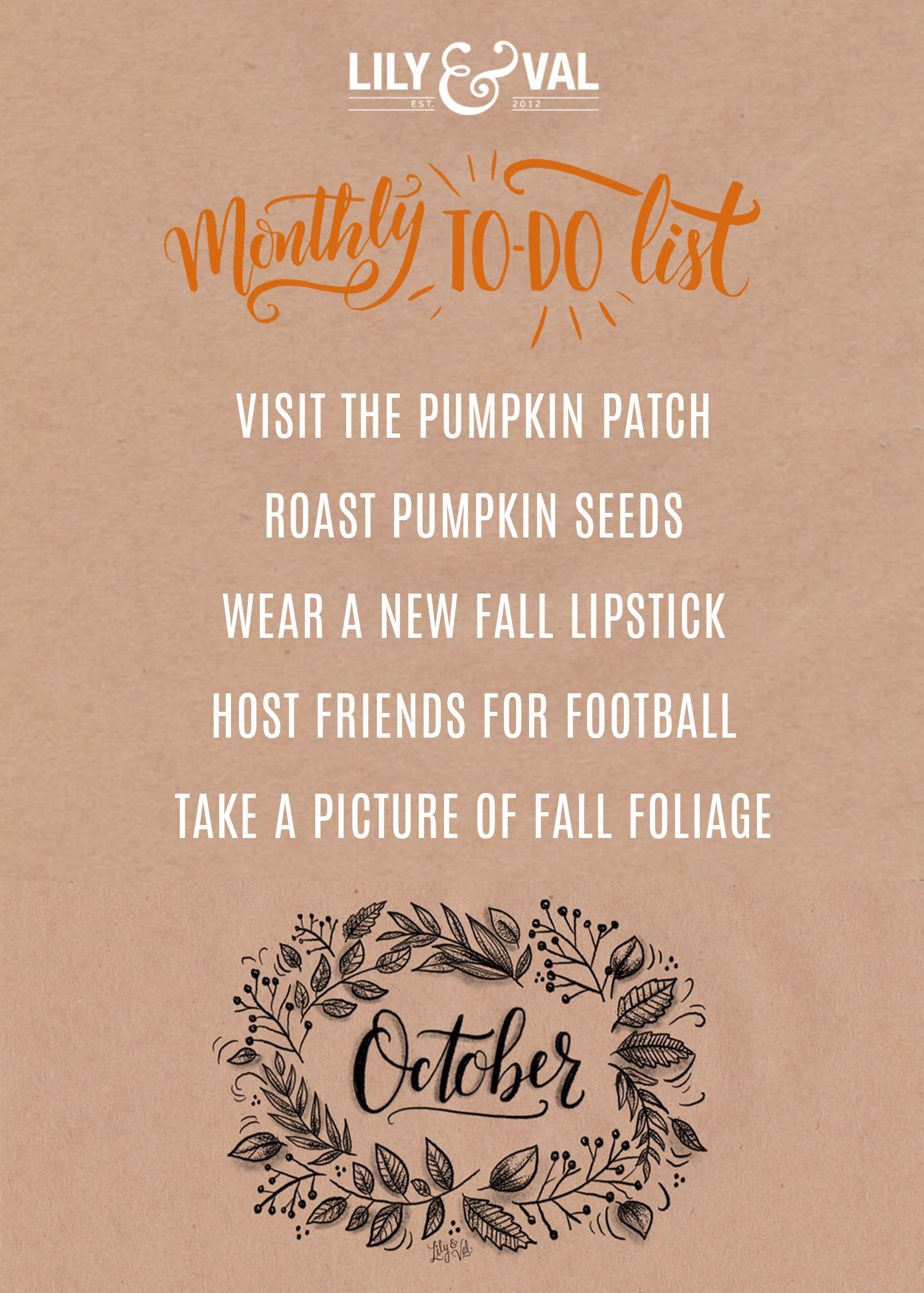 Download Lily & Val's free October to-do list to celebrate Fall in unique ways!