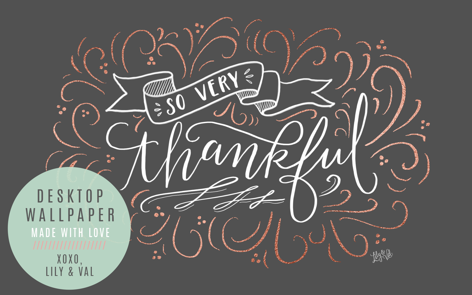 Lily & Val free hand lettered desktop download for November