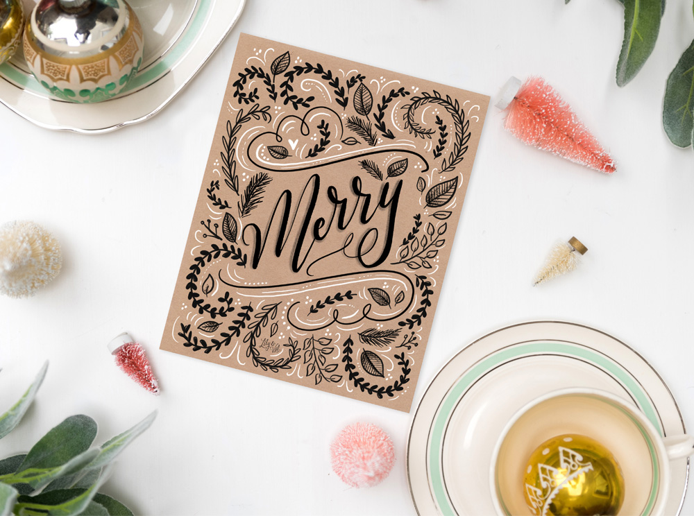 Free hand lettered kraft art download from Lily & Val