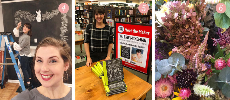 Valerie McKeehan chalkboard drawing, The Complete Book of Chalk Lettering at Barnes and Noble, beautiful bouquet of flowers