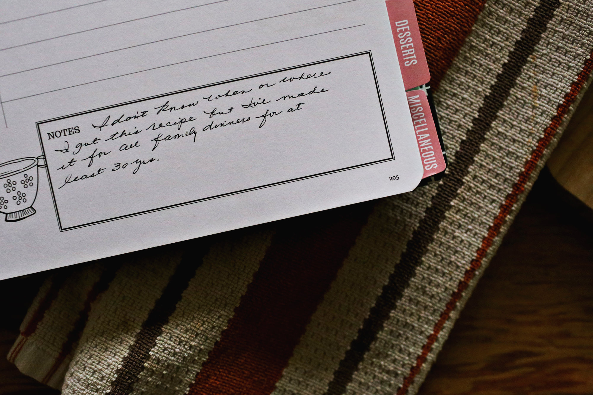 A special place for recipe notes and memories in the Keepsake Kitchen Diary