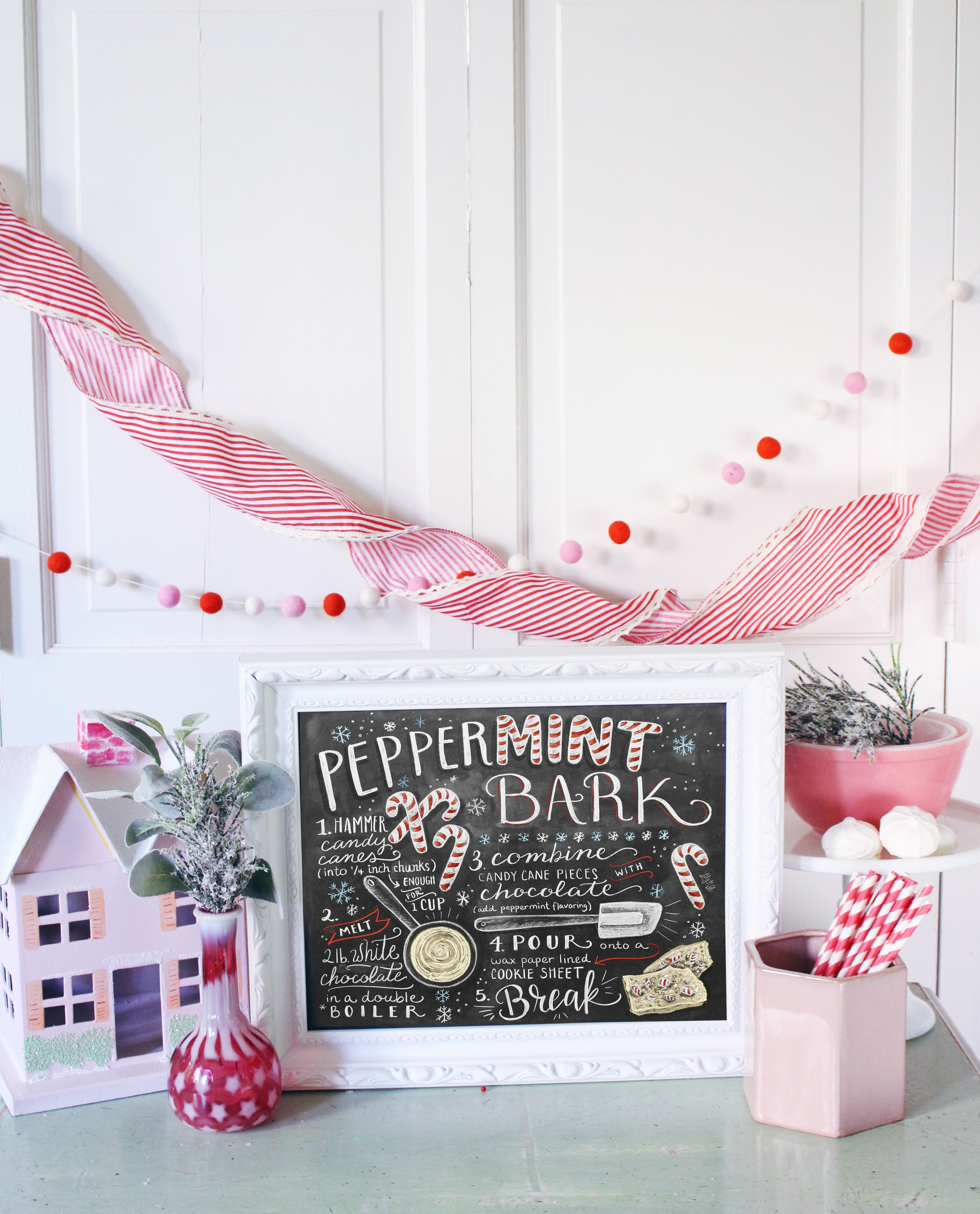 Peppermint Bark illustrated recipe by Lily & Val as part of the 2016 Marshamallow World Holiday Wall Art & Decor Collection