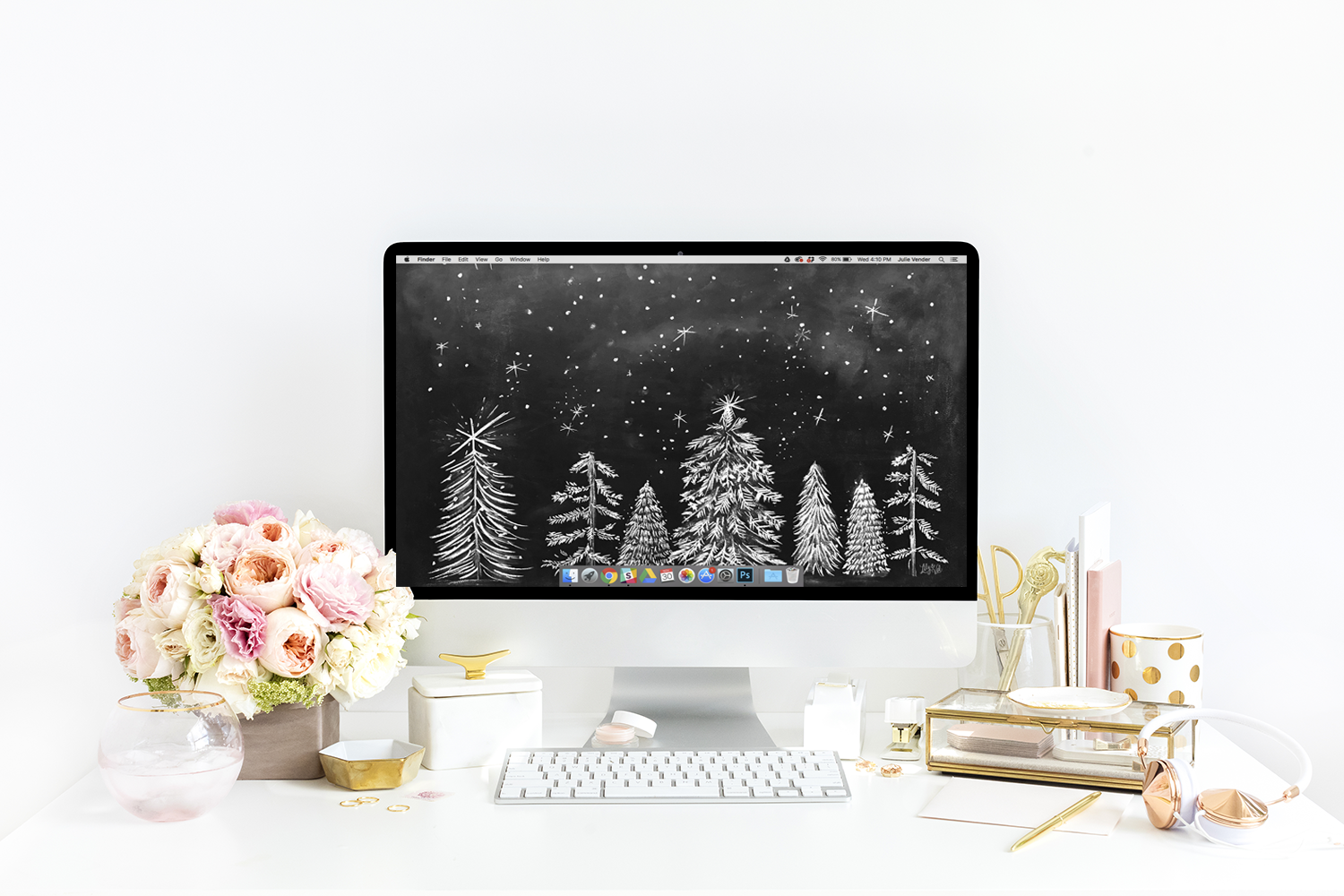 Lily and Val chalk drawing of Christmas trees free desktop download for holiday season