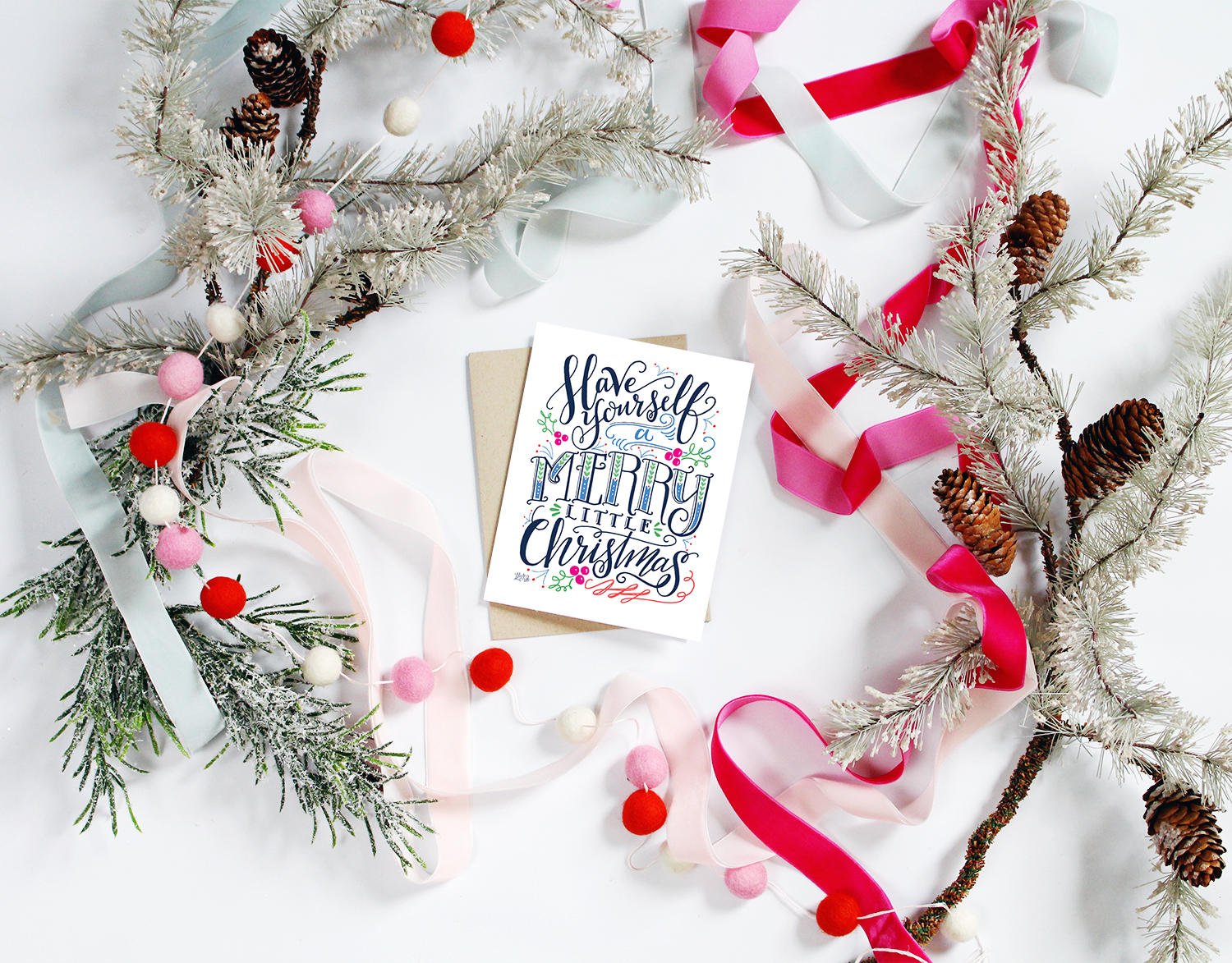 Hand-drawn and hand-lettered christmas card by Lily & Val. Have yourself a Merry Little Christmas Card