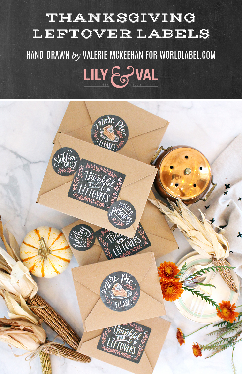 Hand-drawn chalk art labels for your Thanksgiving leftover boxes. Free Thanksgiving download!