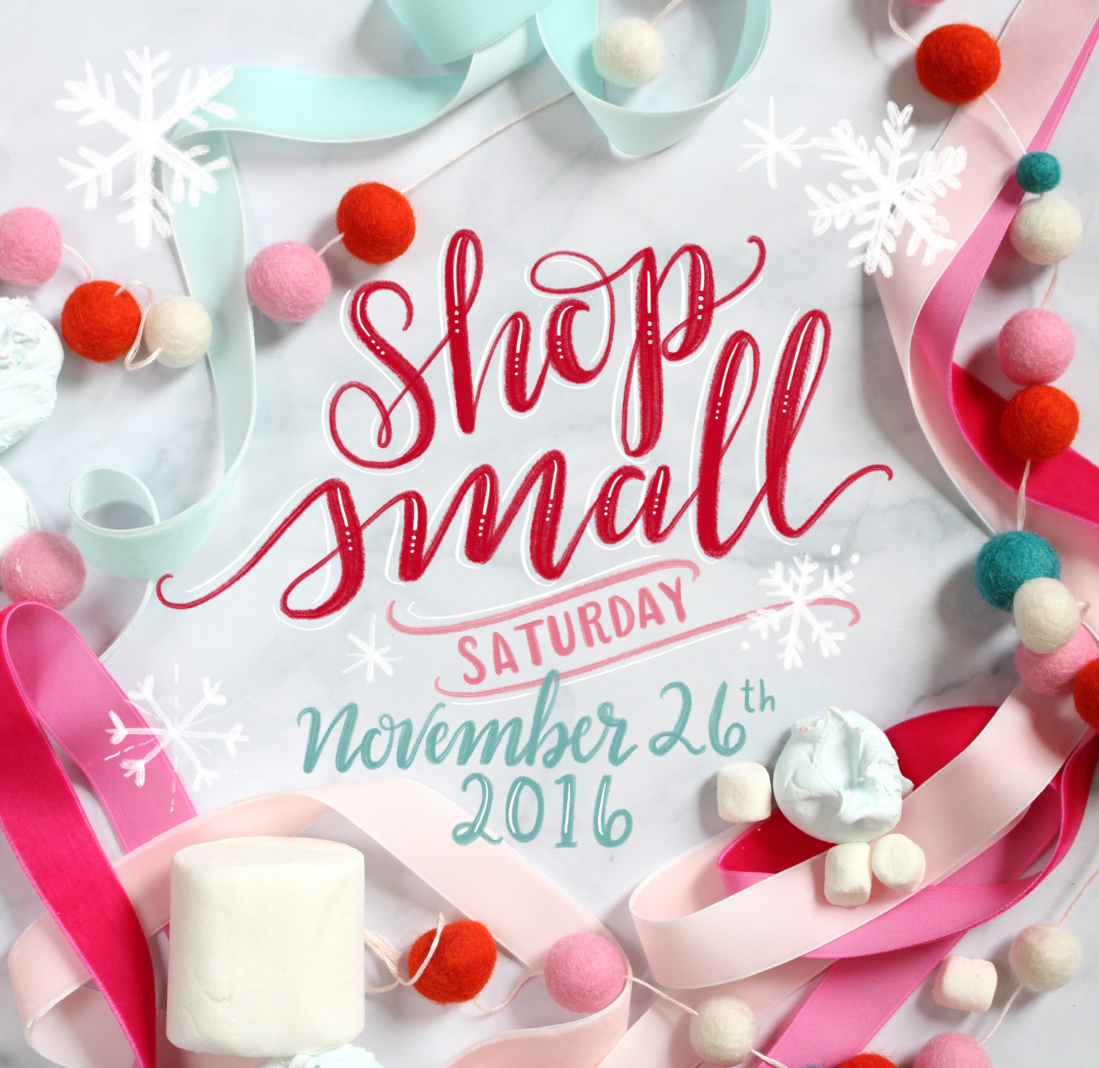 Shop Small on Small Business Saturday 2016. Hand Lettering by Valerie McKeehan of Lily & Val