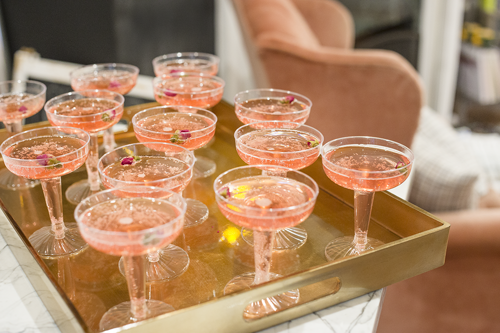 Lily & Val cocktail refreshers using Hibiscus & Rose cocktail mix and champagne