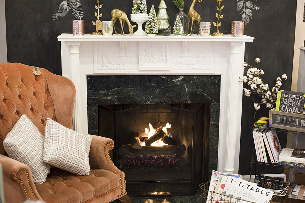 The fireplace in the Lily & Val Flagship Store works! So cozy.
