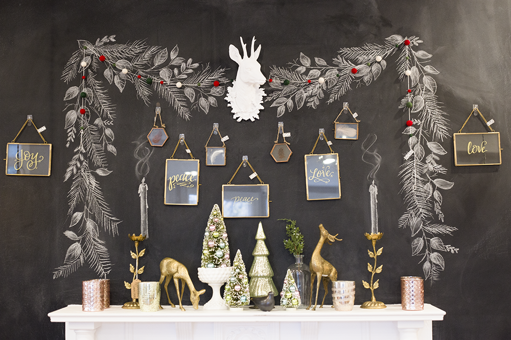 Chalkboard Wall Mantel designed for the holidays in the Lily & Val Flagship Store.