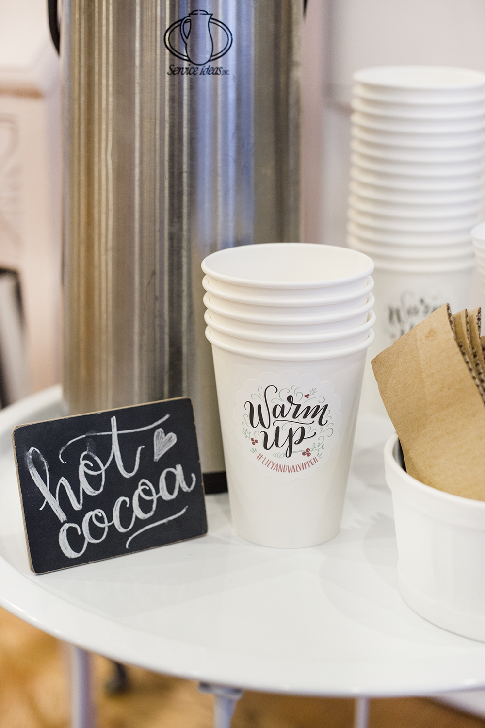 Lily & Val Hot Cocoa station with hand lettered labels