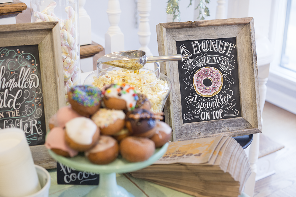 A donut is happiness with sprinkles on top - chalk art by Lily & Val. It makes a great display for your donut table!