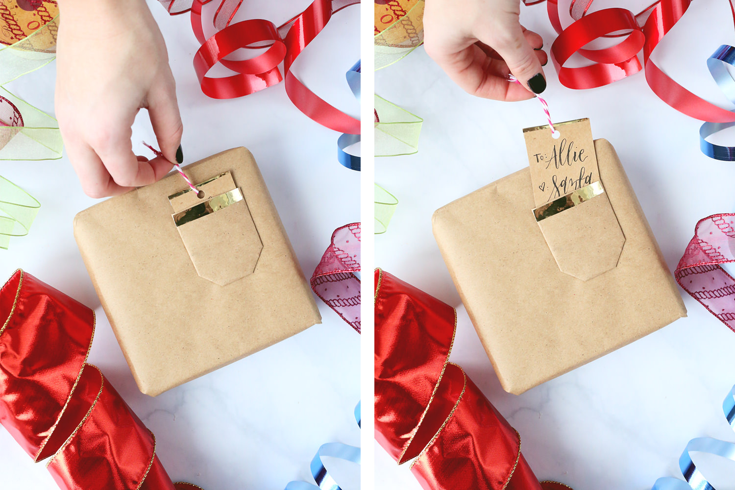DIY Christmas Gift Wrap with Pocket Detail, Lily & Val Living. Unique Christmas Gift Wrap