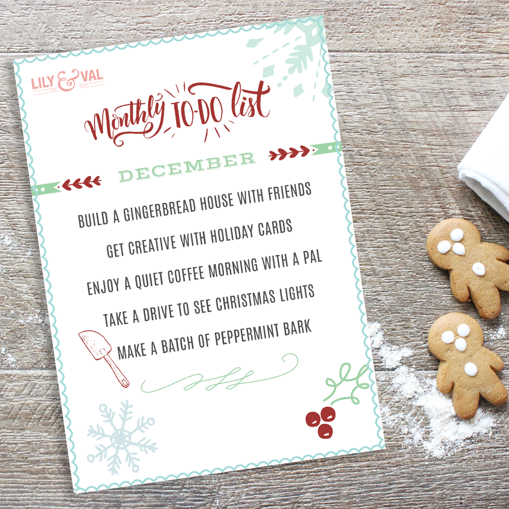 Free downloadable December To Do List - So cute!