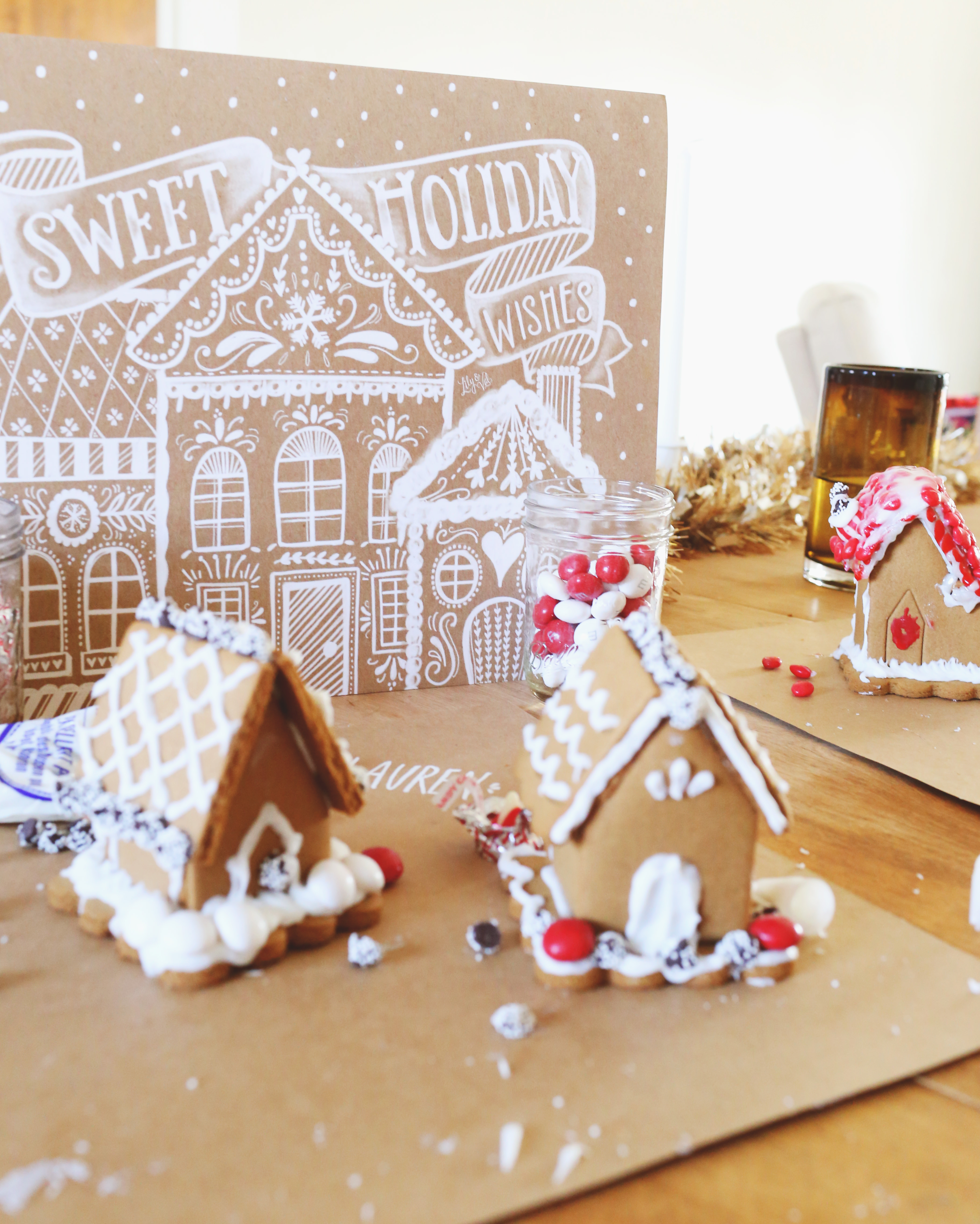 Sweet Holiday Wishes Kraft Art print by Lily & Val makes the perfect holiday decor for a gingerbread decorating party