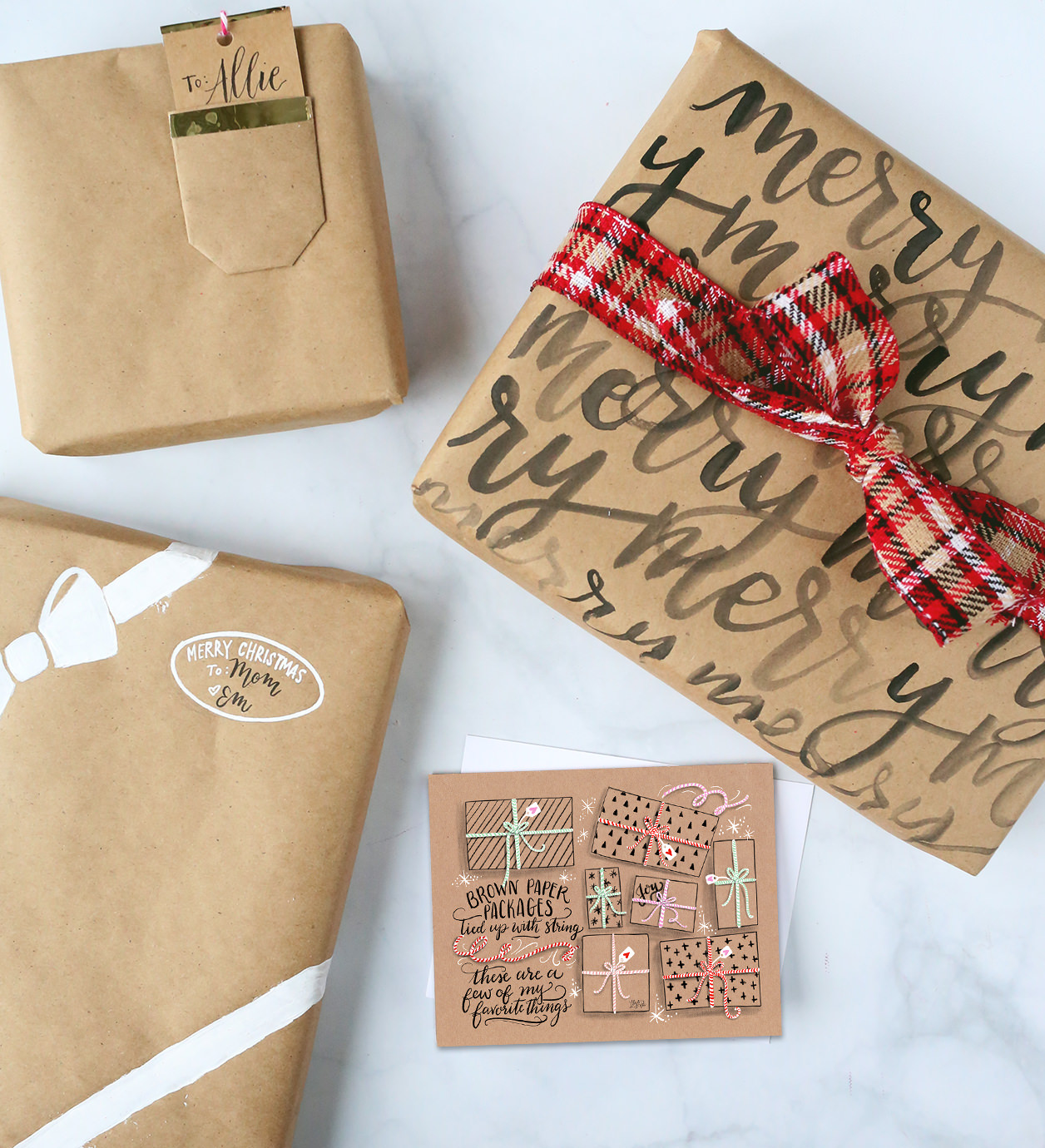 Kraft Paper Gift Wrap DIY via Lily and Val Lily. Kraft Paper Christmas Wrap