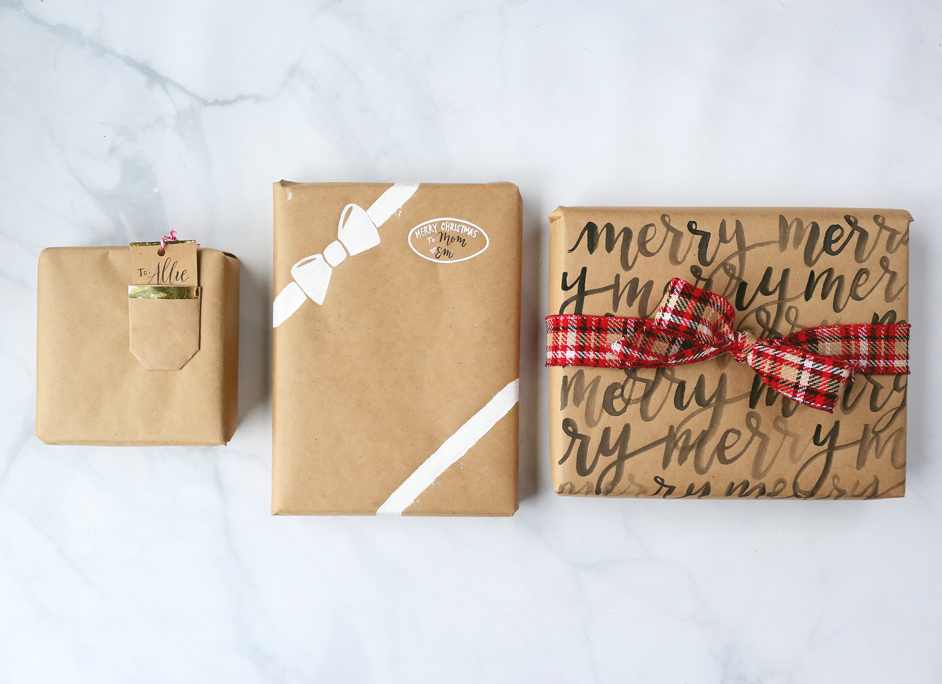 Kraft paper packages, Christmas gift wrap ideas via Lily & Val Living