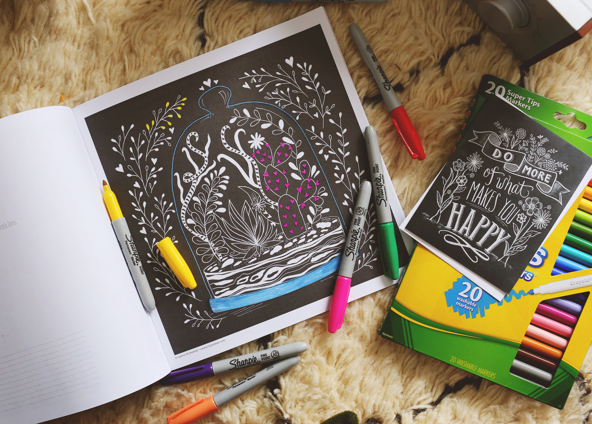 Spend a cozy day in with our coloring book, your favorite candle and a good record! Lily & Val Living