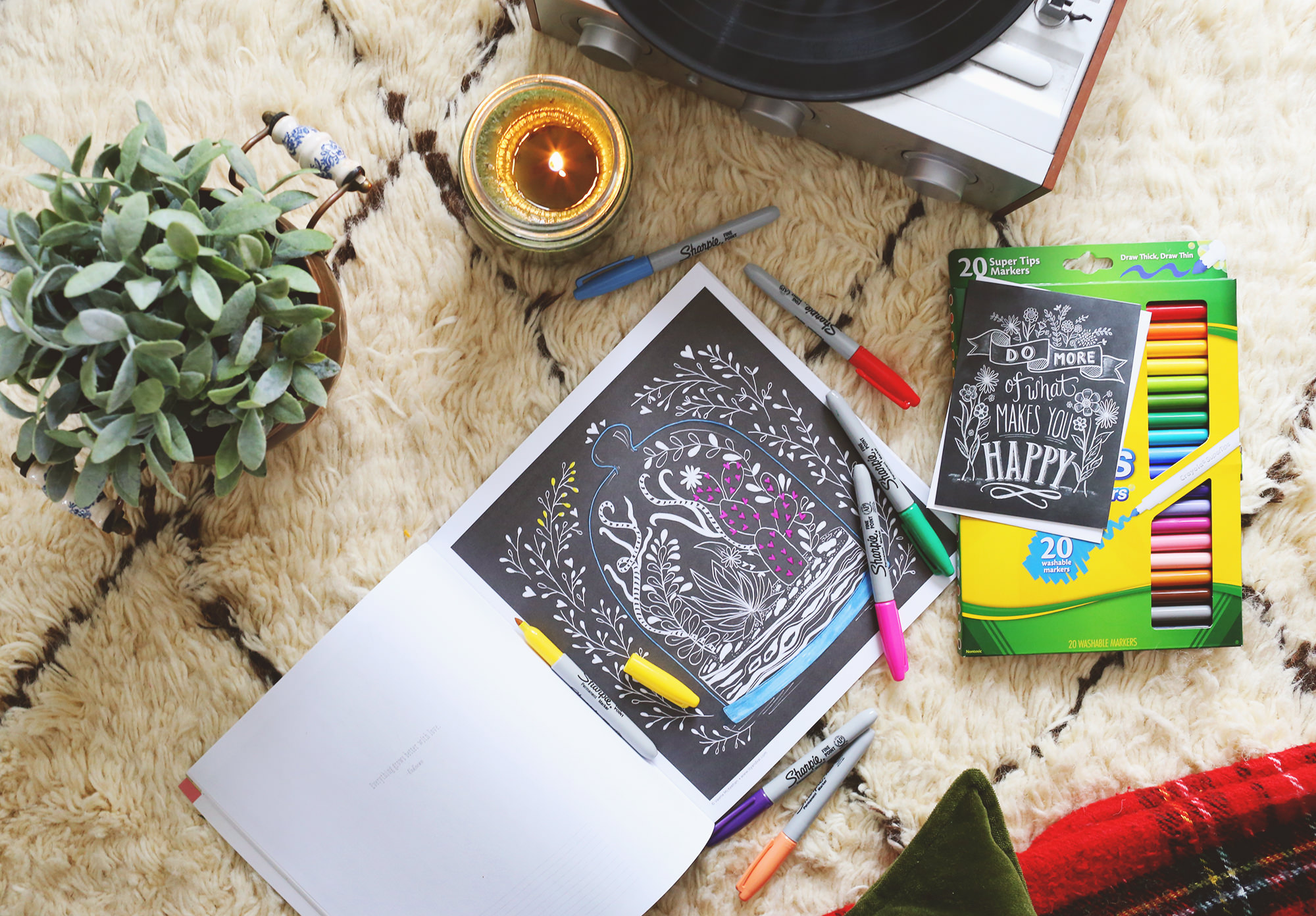 January's Happy Mail idea includes a coloring book, a marker set and a Lily & Val card!