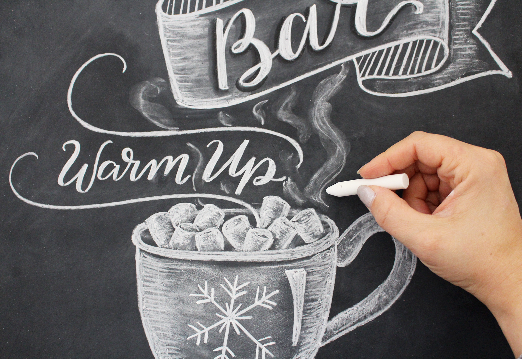 Learn how to draw a hot cocoa bar chalkboard sign by Valerie McKeehan
