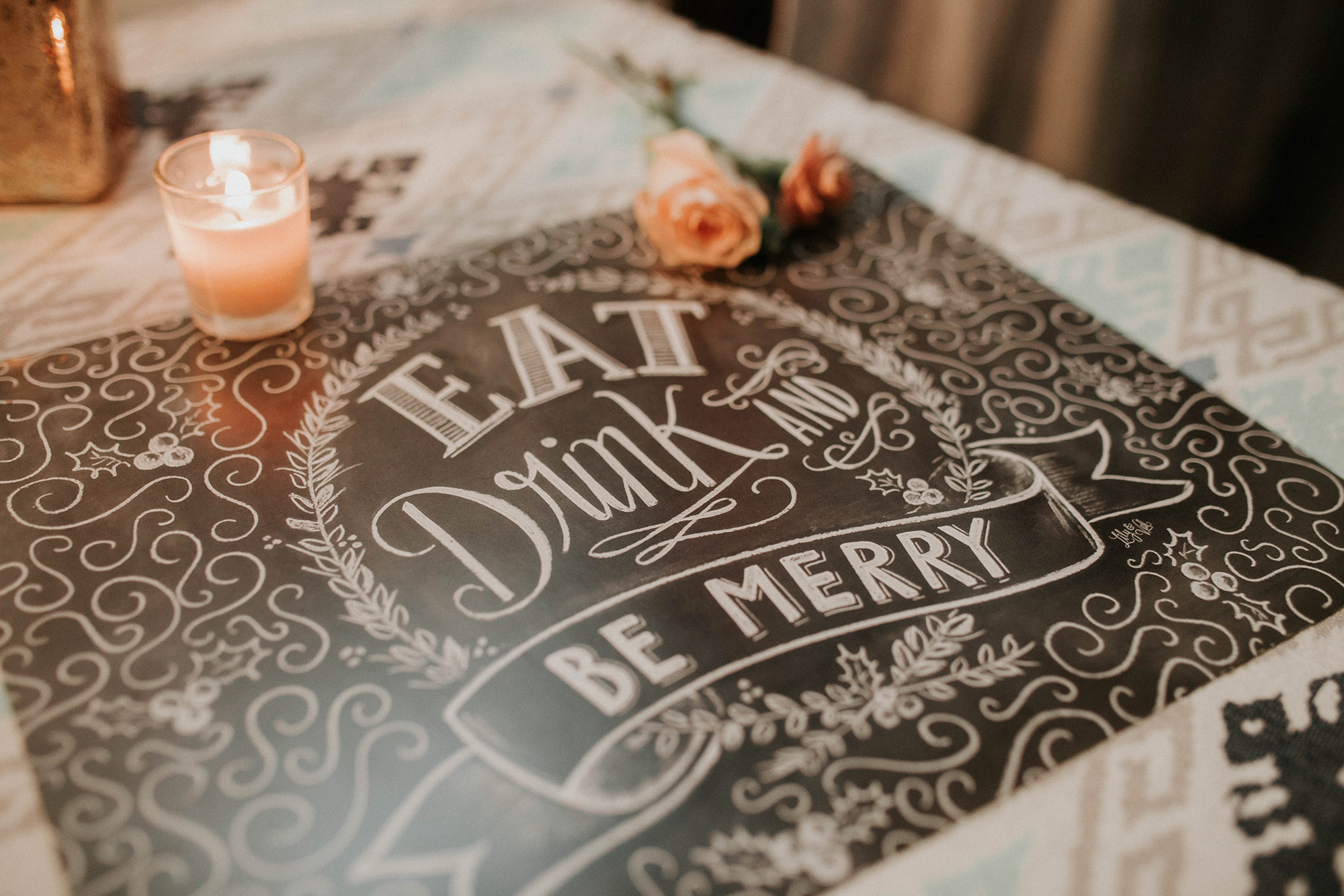 Eat Drink and Be Merry Chalk Art placemats at the Lily & Val Company Christmas Party