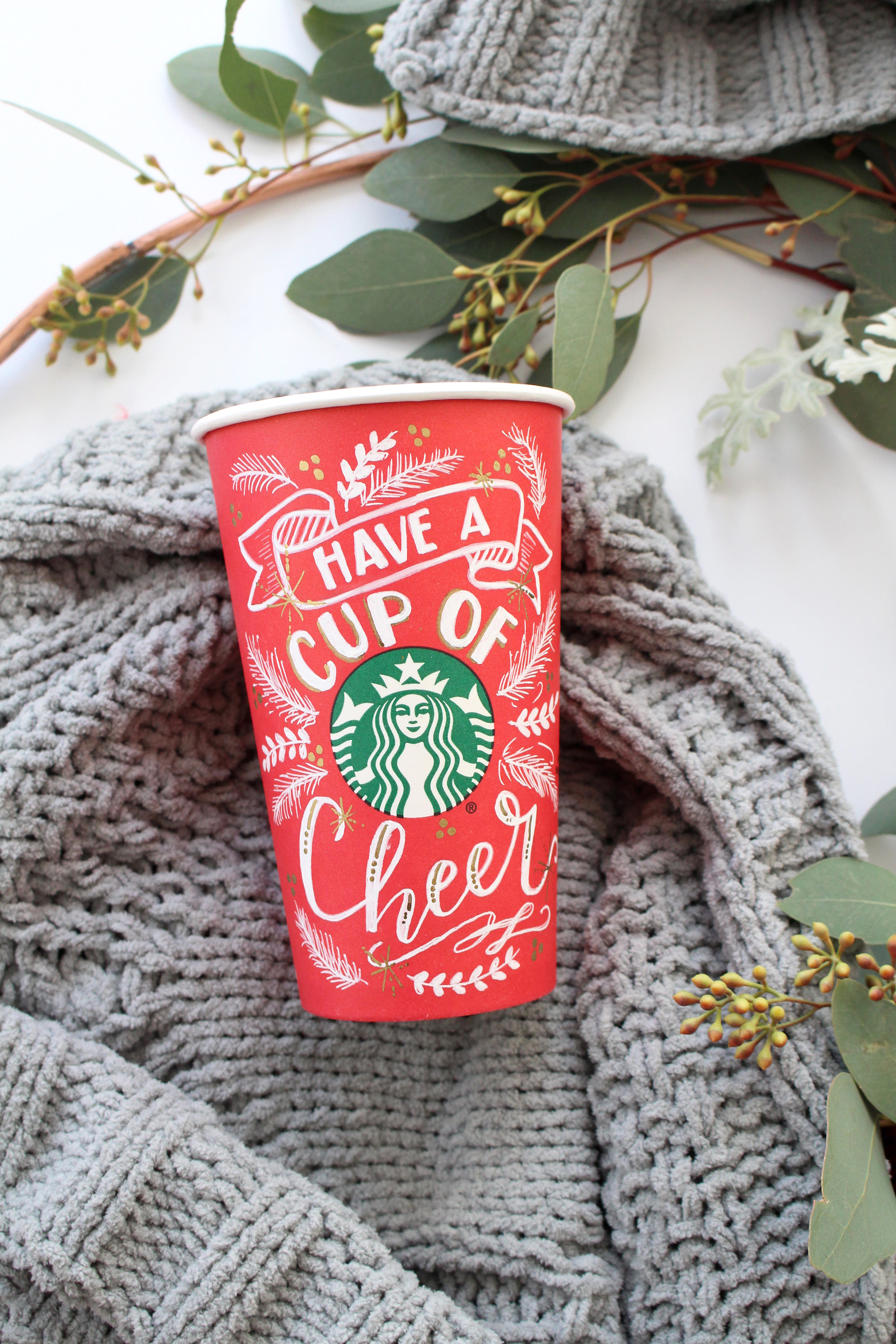 Have a cup of cheer Starbucks red cup art by Valerie McKeehan
