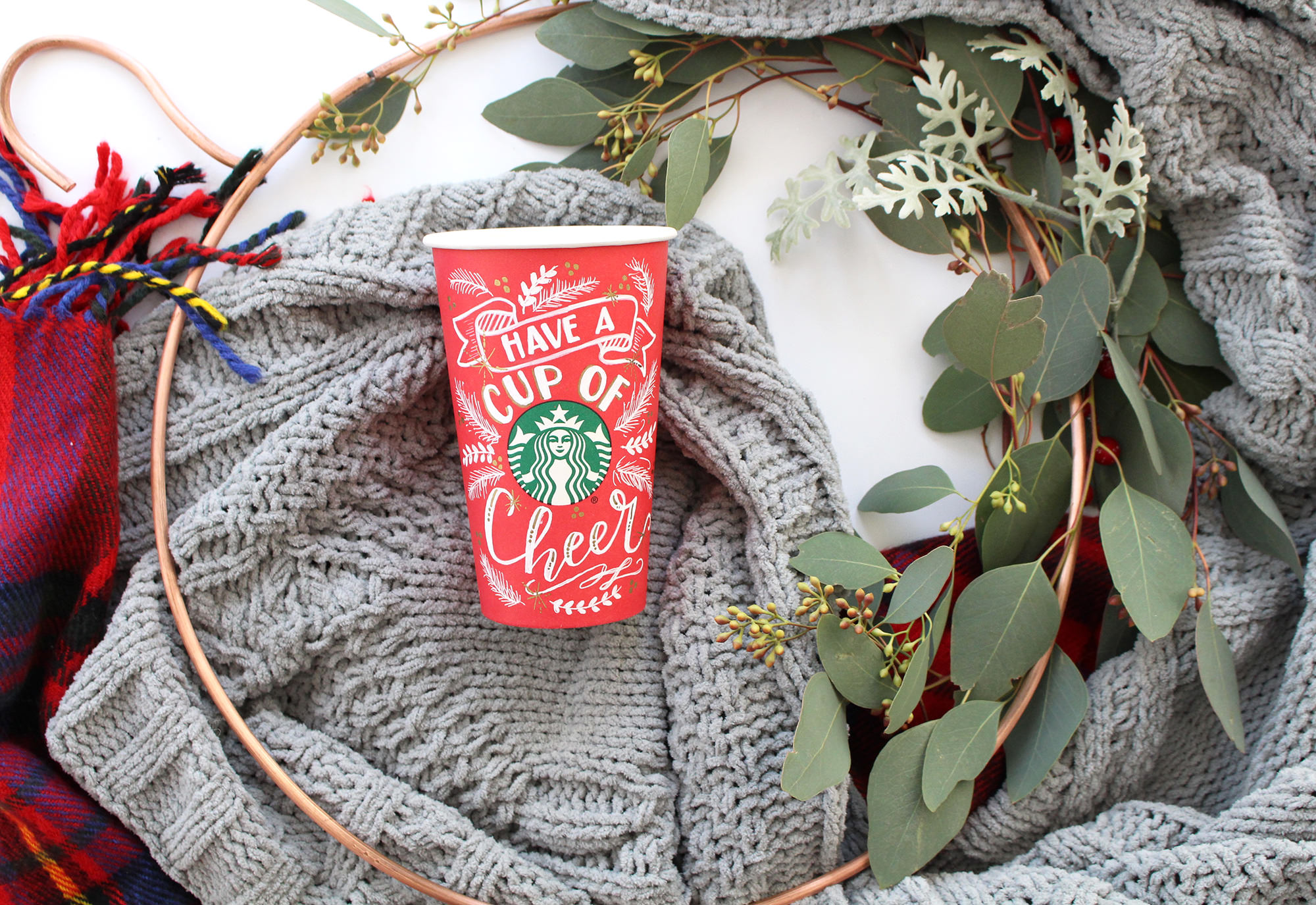 Starbucks Red Cup Art by Valerie McKeehan of Lily & Val. Have a cup of cheer!