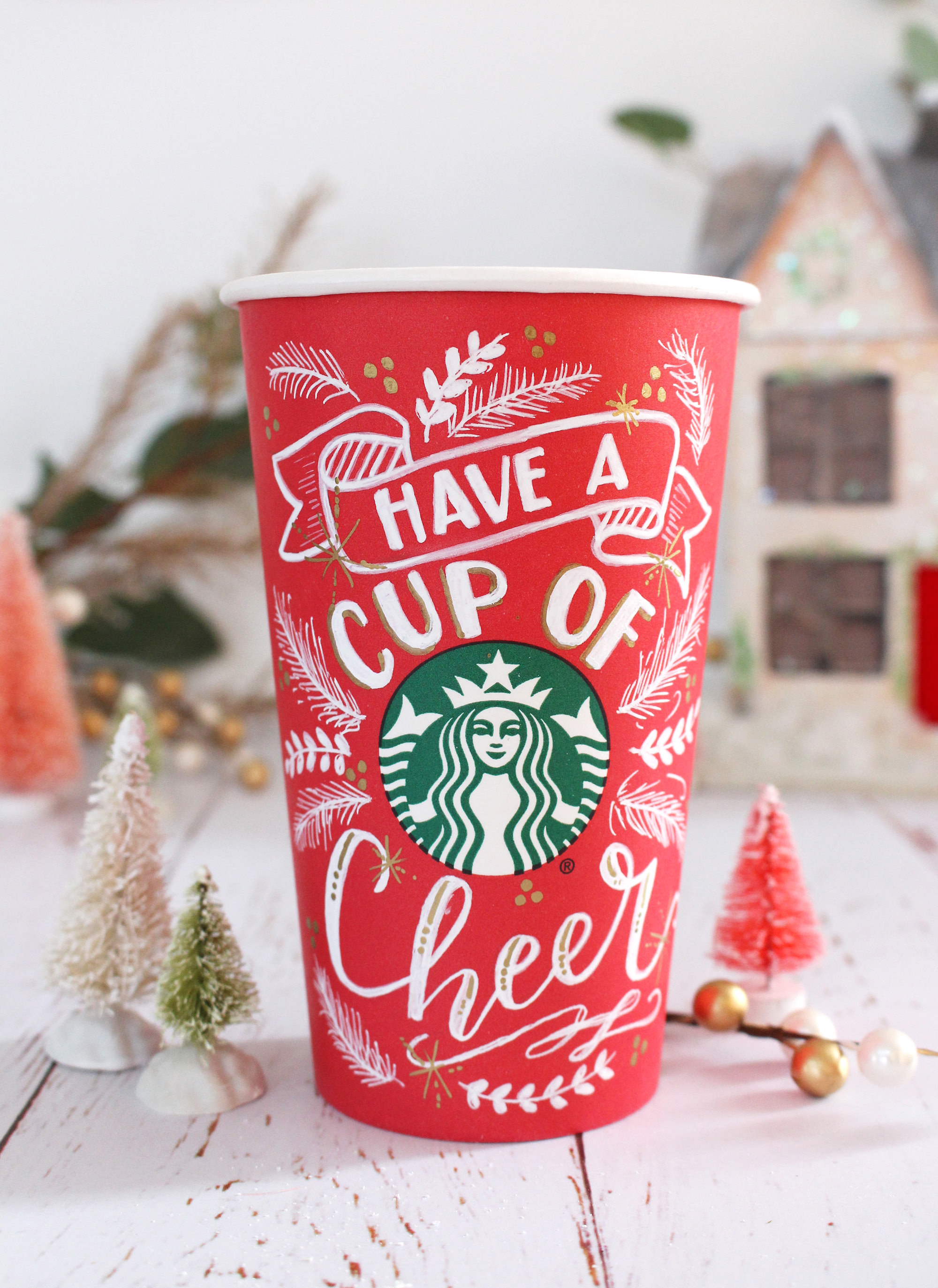 Starbucks red cup art by Valerie McKeehan