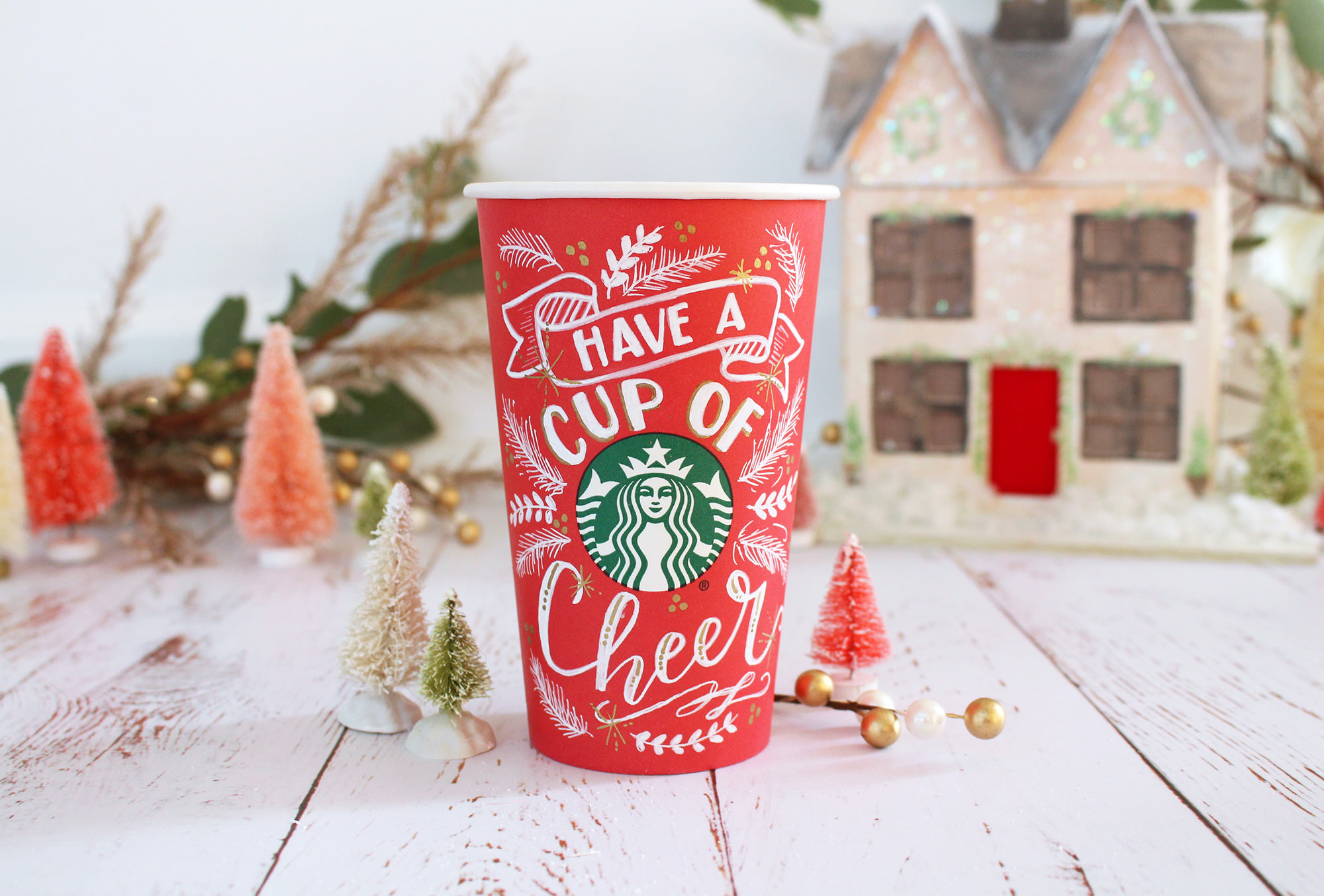 Starbucks red cup art by Valerie McKeehan of Lily & Val