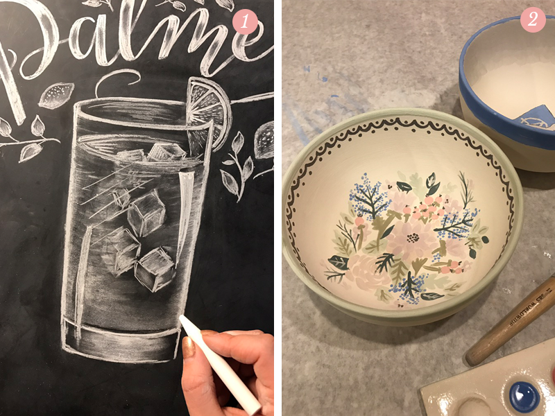 Chalk drawing of a refreshing Arnold Palmer, hand-painted flowers in ceramic bowls